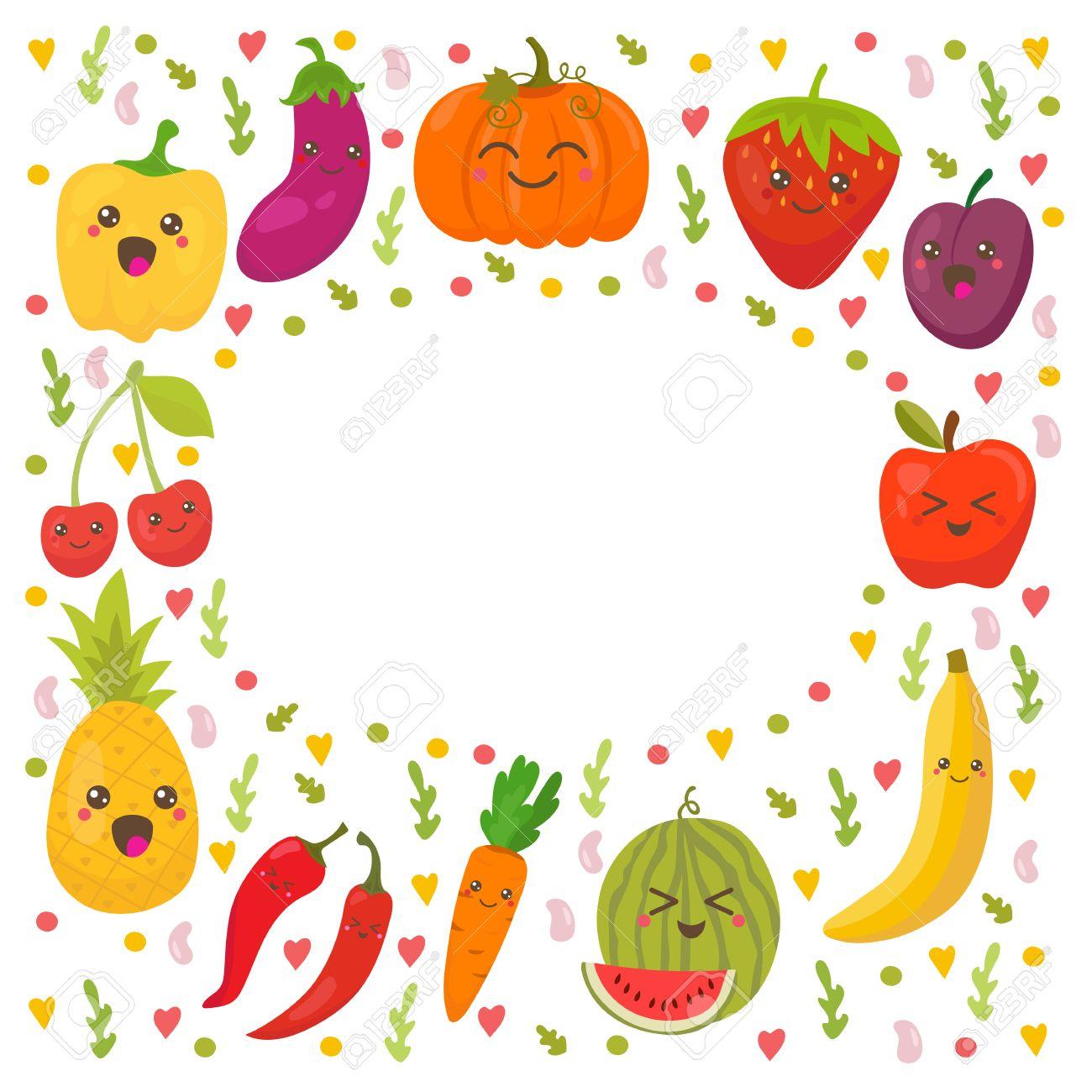 Frutas Frescas Y Verduras Felices. Marco Para Su Diseño. Fondo Lindo ...