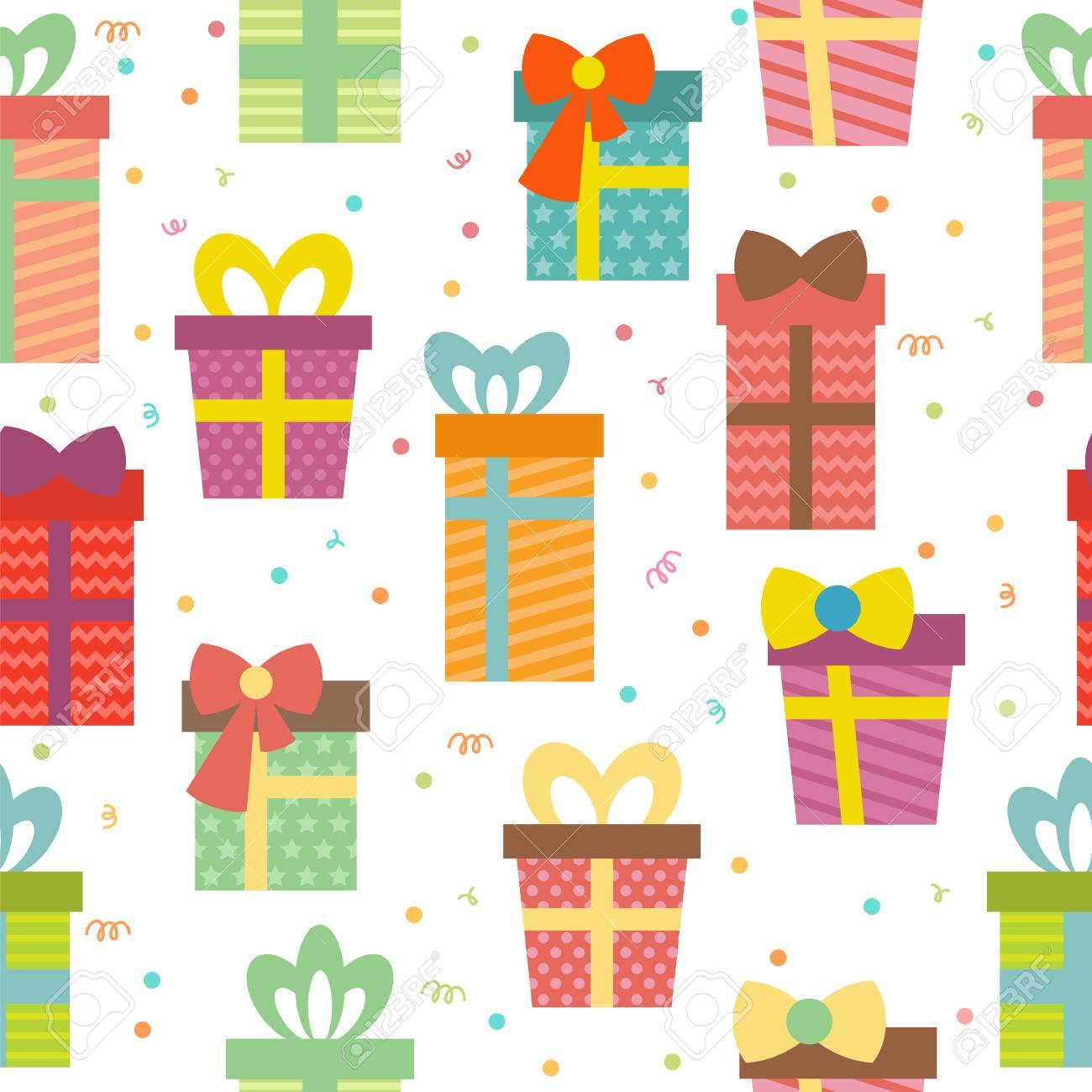 Seamless Pattern With Gift Boxes Birthday Presents Background