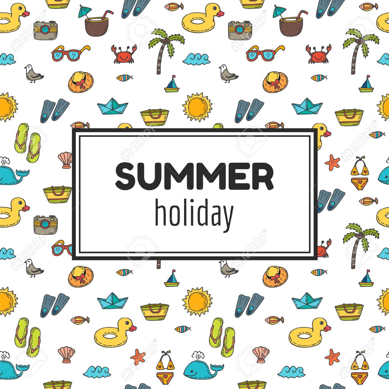 Summer holiday. Summer tropical vacation background. Cute hand drawn greeting card. Vector illustration - 55012373