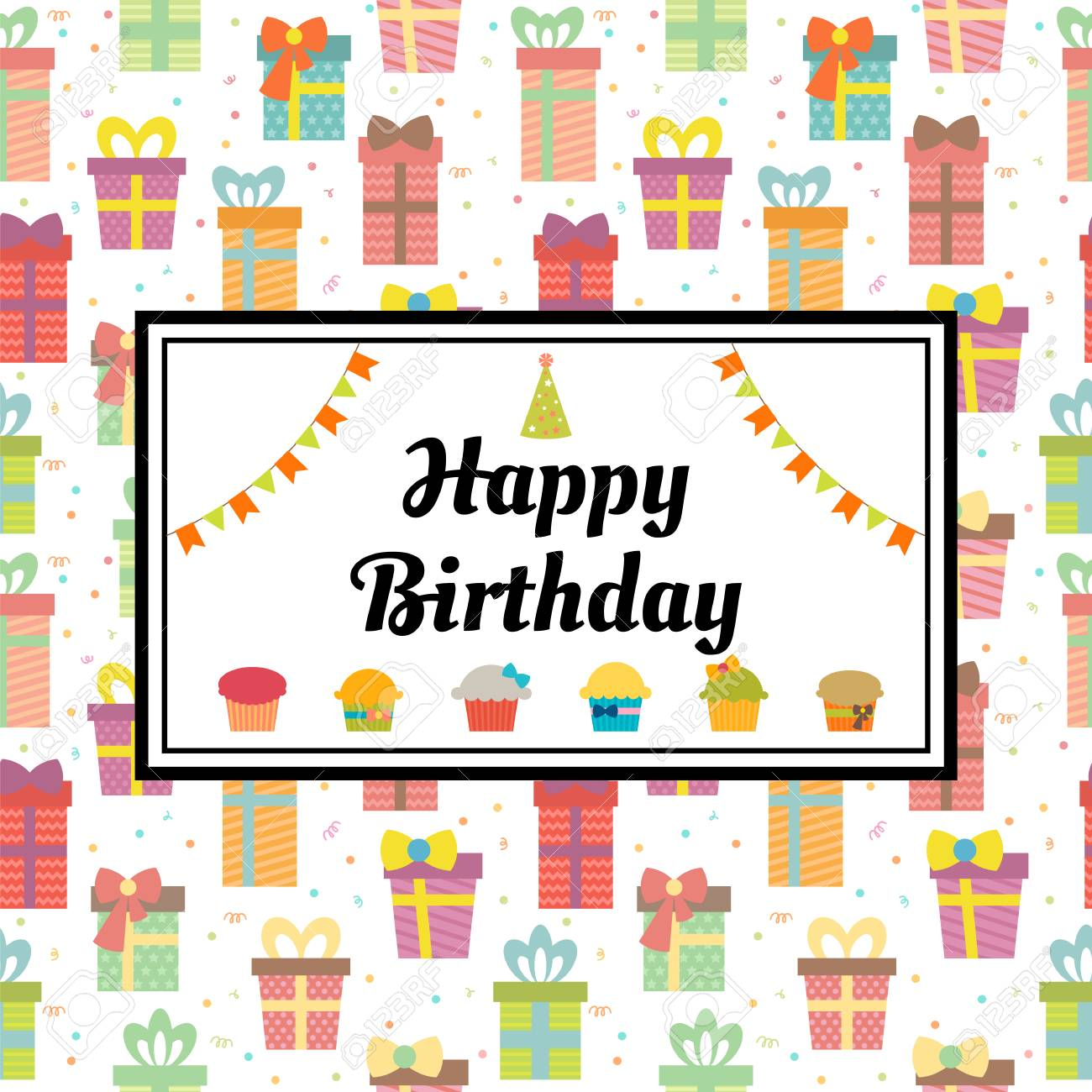 Happy Birthday Greeting Card With Gift Boxes And Cupcakes Cute