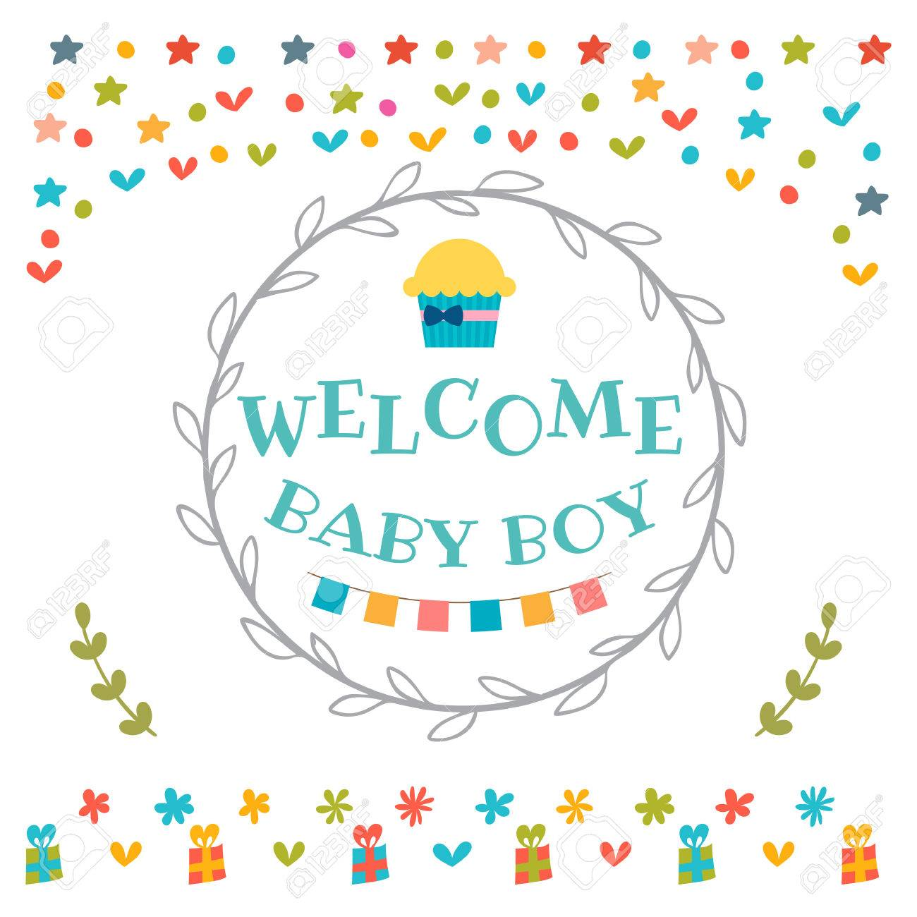 Baby Boy Shower Card Welcome Baby Boy Baby Boy Arrival Postcard