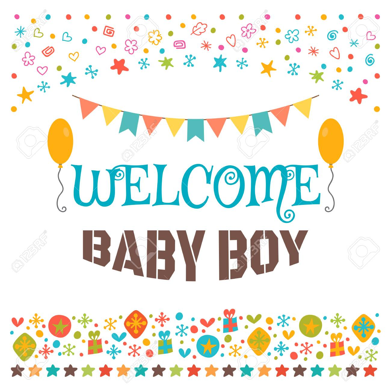 Welcome Baby Boy Announcement Card Baby Shower Greeting Card