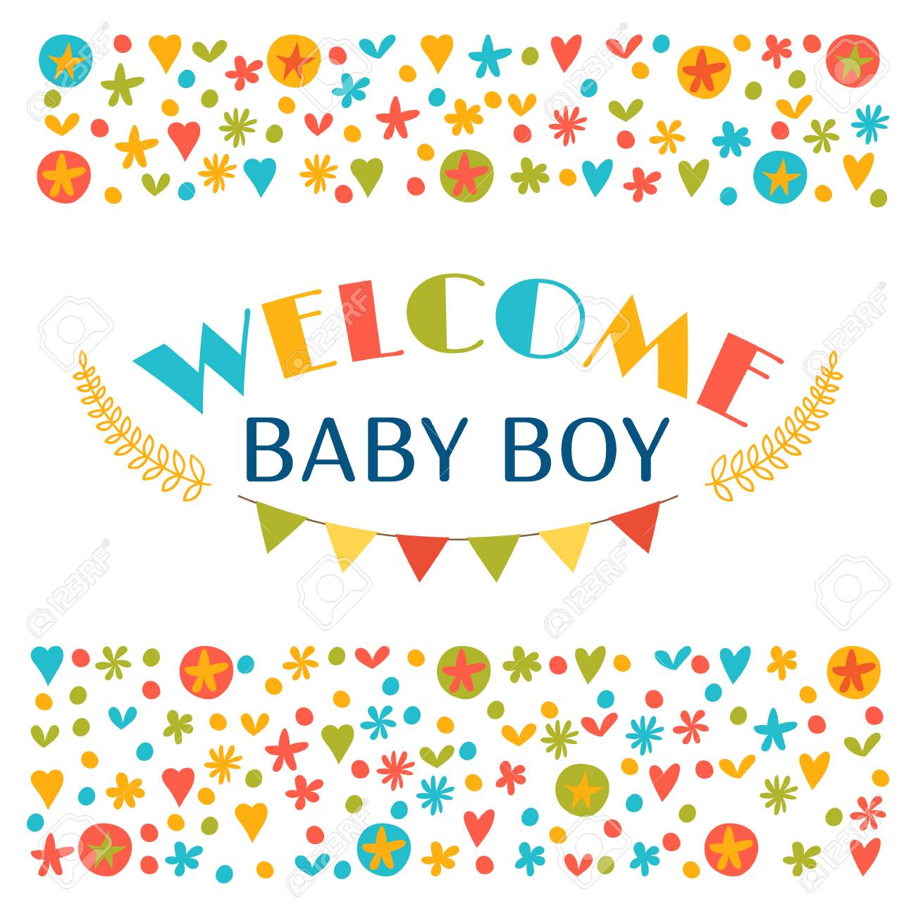 Welcome Baby Boy Baby Boy Shower Card Announcement Card Baby