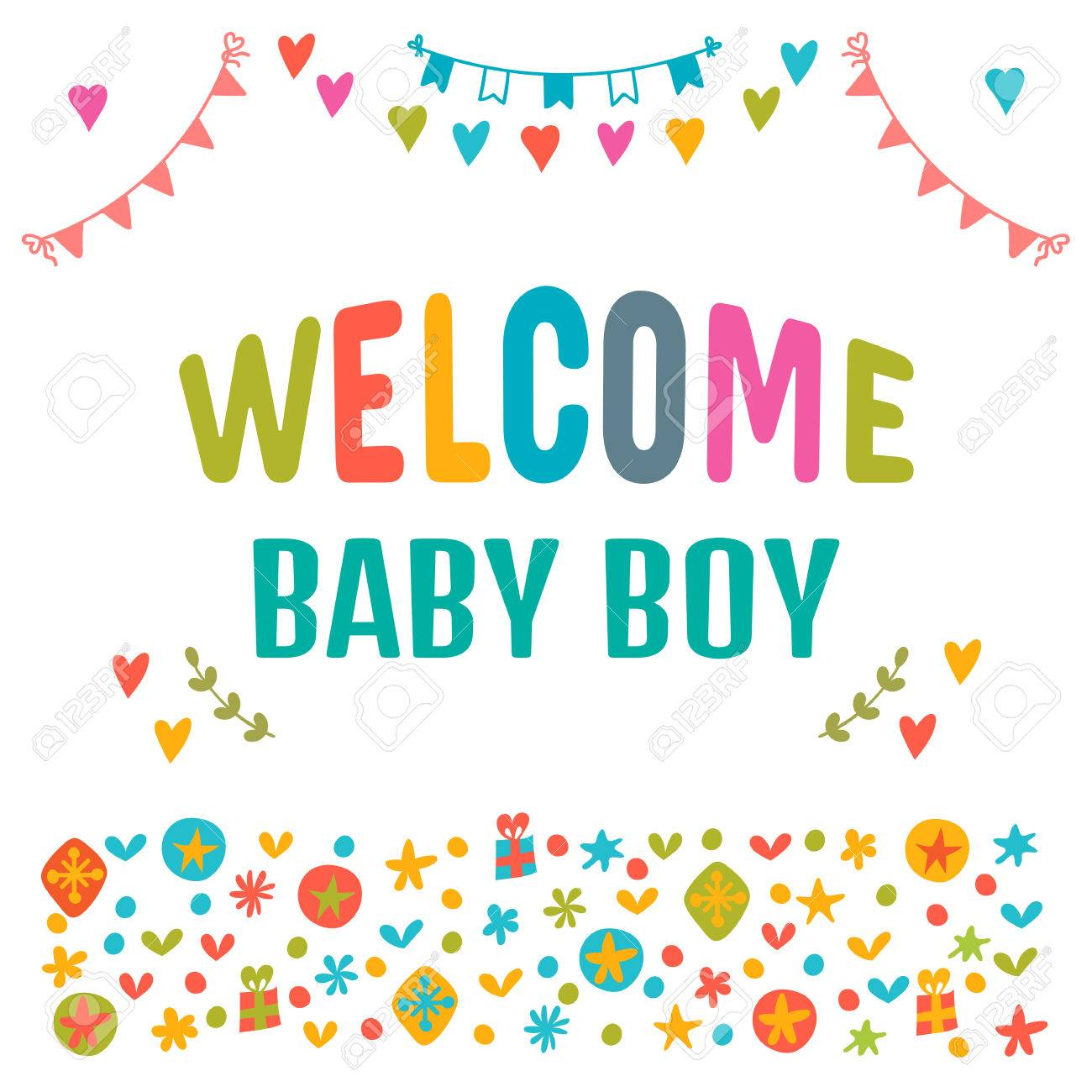 Welcome Baby Boy Baby Boy Shower Card Baby Shower Greeting