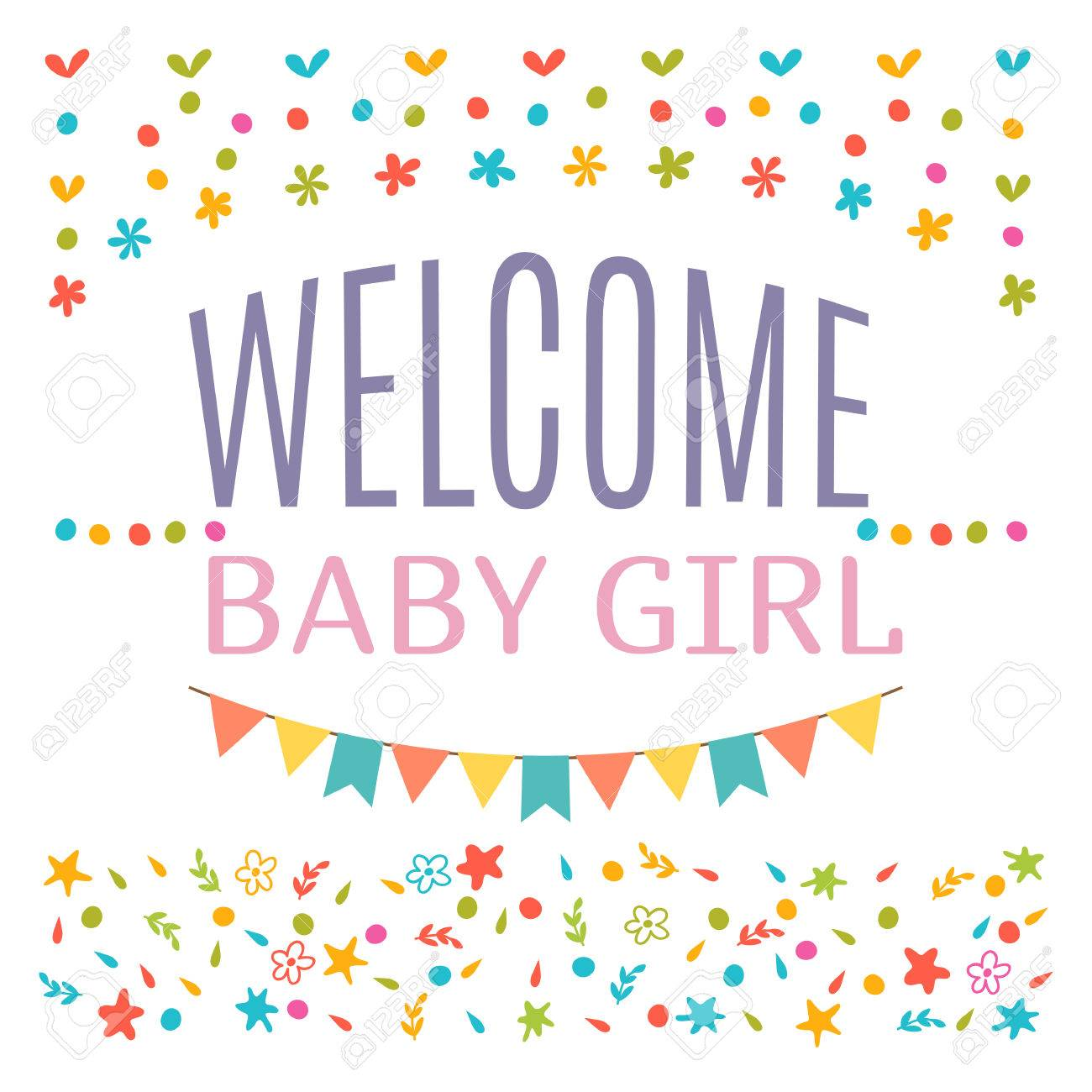 welcome baby girl shower card arrival card announcement card