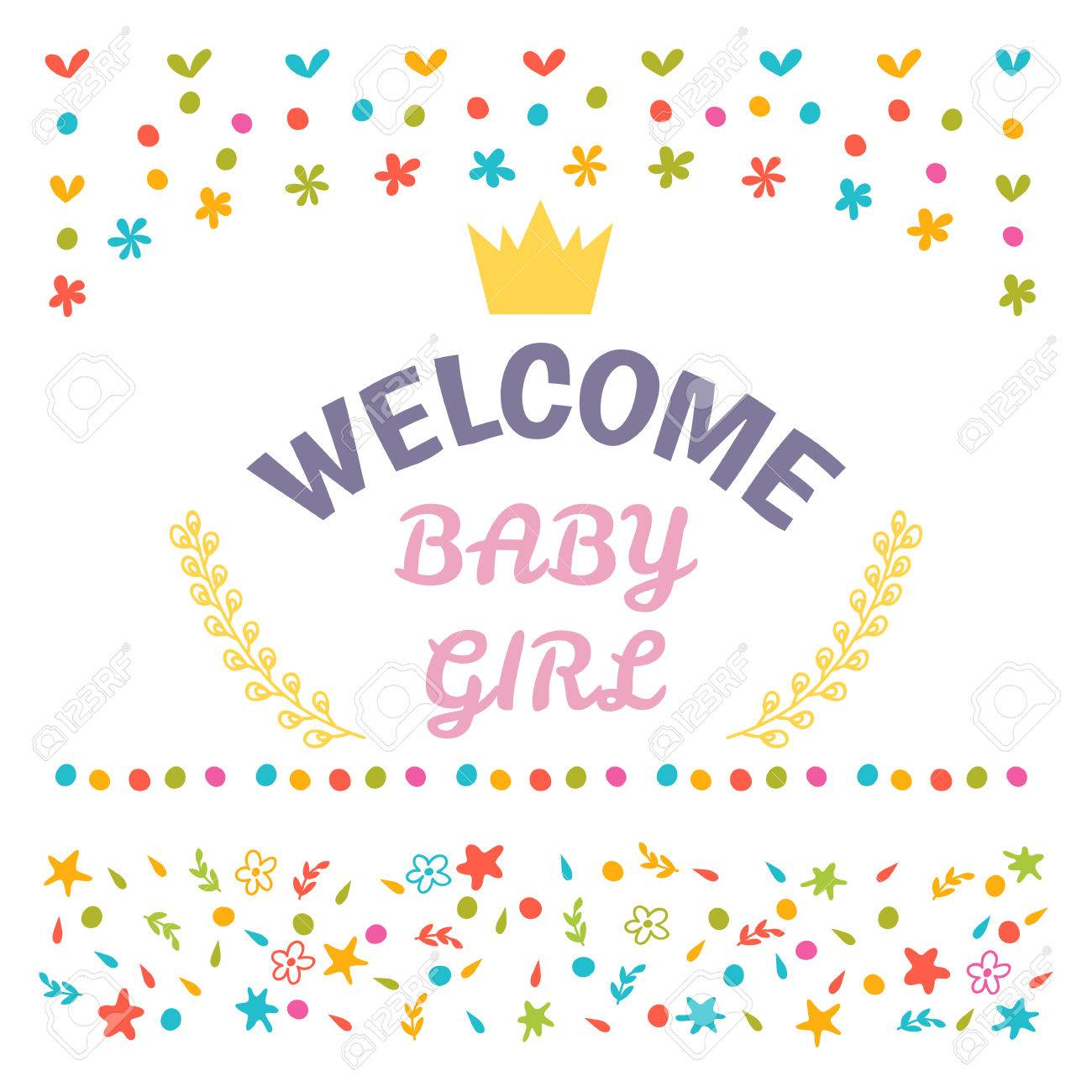 welcome baby girl shower card arrival card cute postcard vector