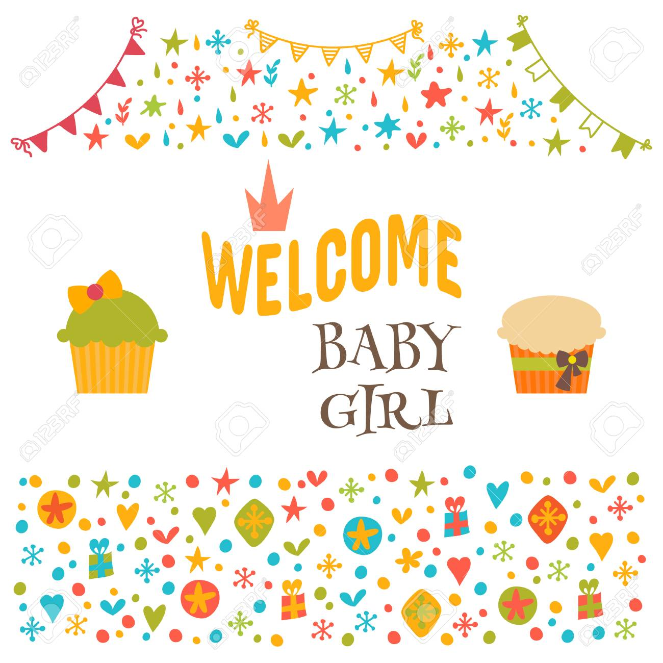 Welcome baby girl baby girl shower card baby shower greeting vector welcome baby girl baby girl shower card baby shower greeting card cute baby girl arrival postcard vector illustration m4hsunfo