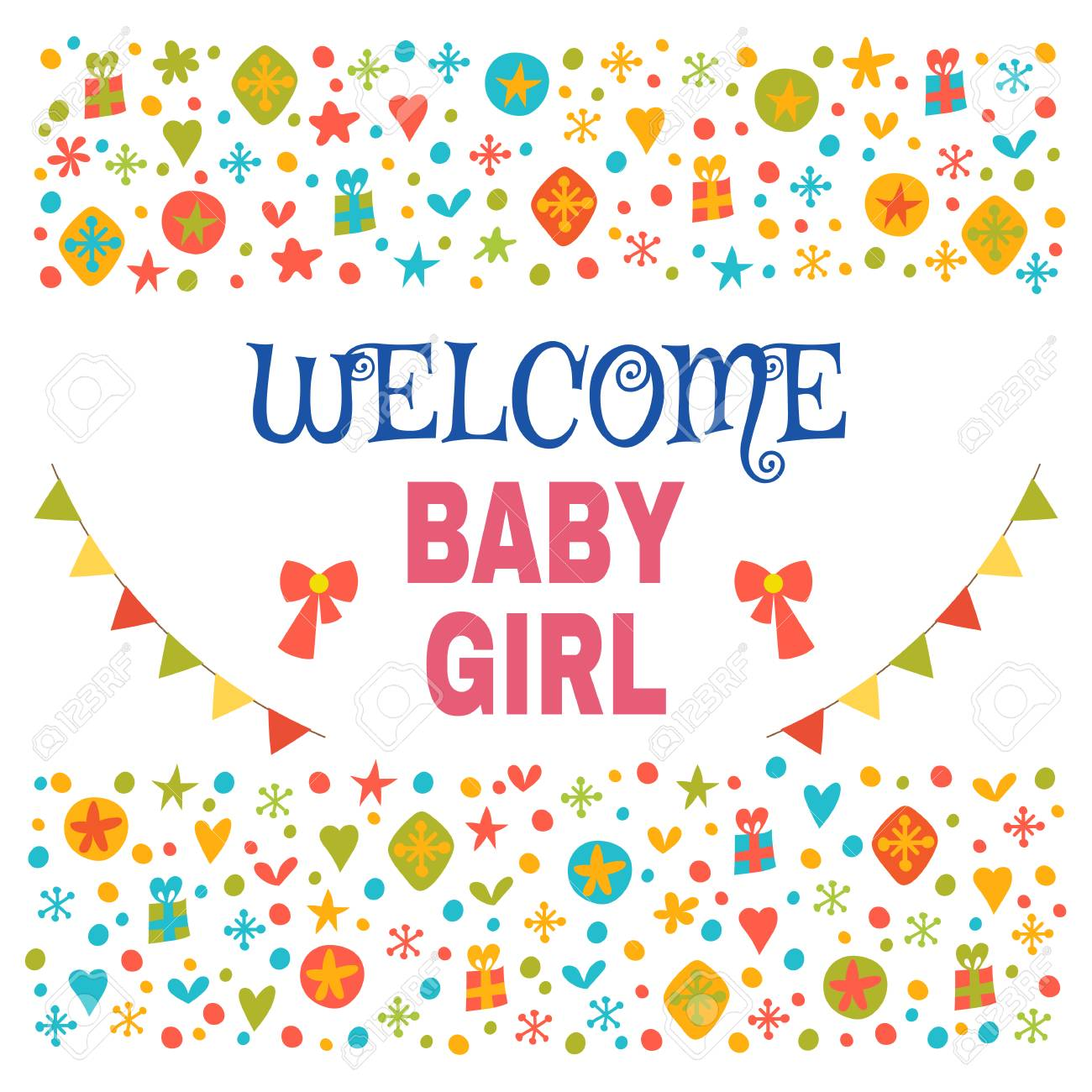 welcome baby girl baby girl shower card baby girl arrival postcard
