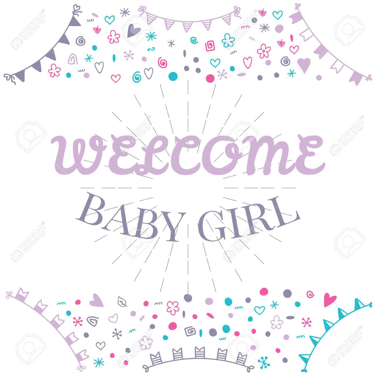 Welcome Baby Girl Baby Shower Greeting Card Cute Baby Girl