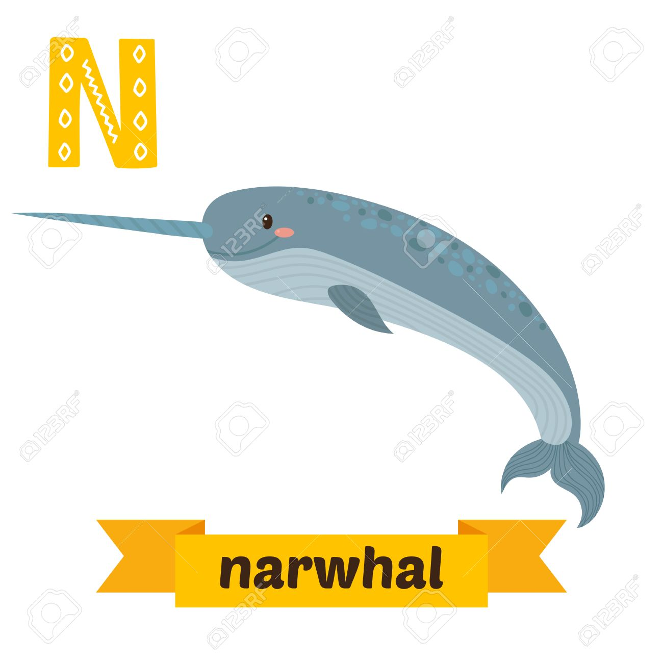 Image of: Cute Narwhal Vector Illustration Narwhal Letter Cute Children Animal Alphabet In Vector Funny Cartoon Animals 123rfcom Narwhal Letter Cute Children Animal Alphabet In Vector Funny