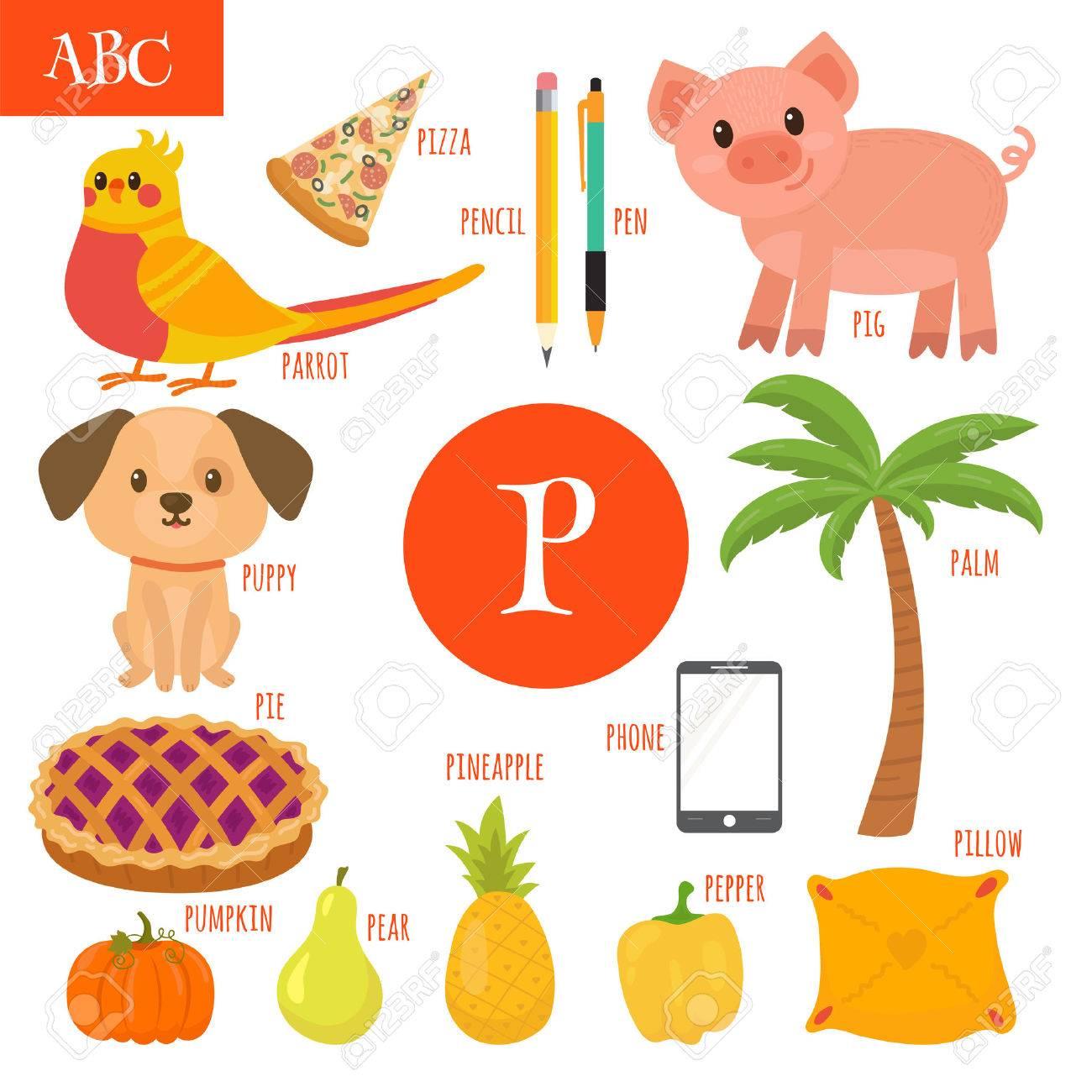 Letter P Cartoon Alphabet For Children Pear Pig Pen Pencil