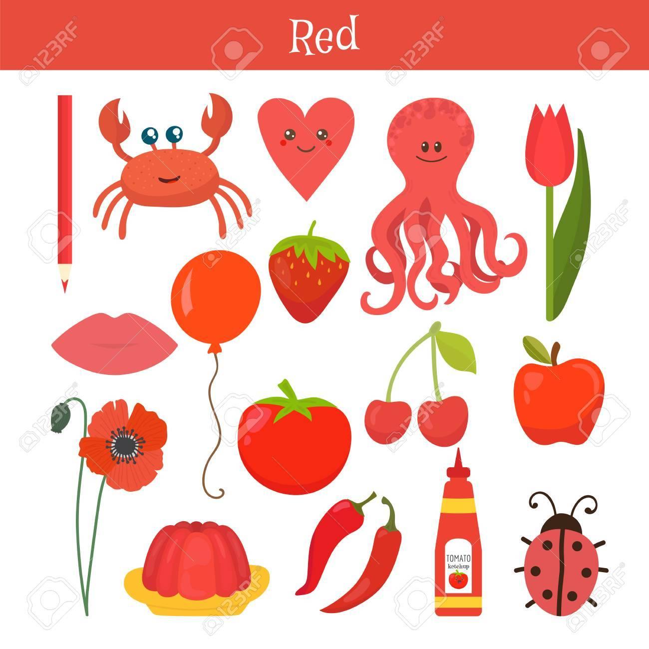 Rot. Lernen Sie Die Farbe. Bildung Set. Illustration Von ...