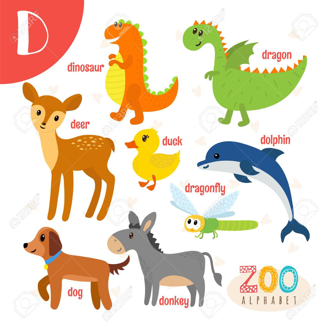 561c0542b Letter D. Cute animals. Funny cartoon animals . ABC book. illustration  Stock Vector