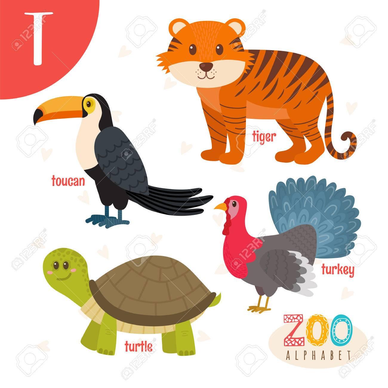 Letra T Animales Lindos Animales De Dibujos Animados Divertidos