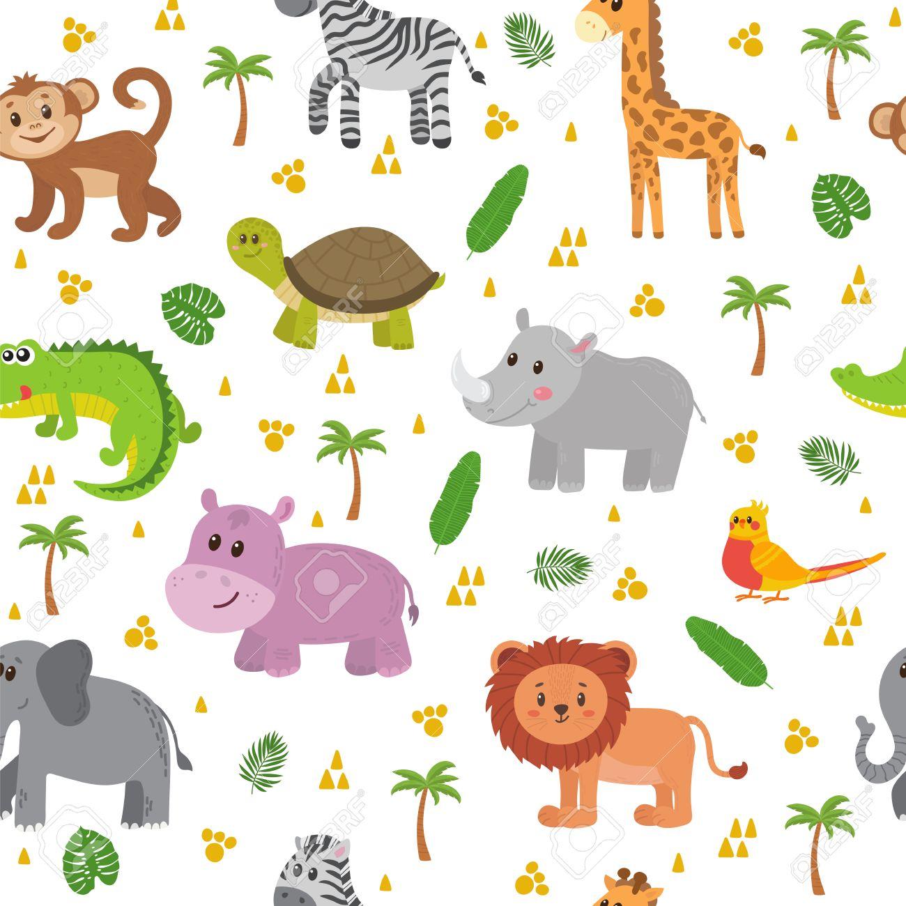 e21e402c4f95e Animales africanos sin patrón. Cute dibujos animados de animales infantiles.  Foto de archivo -