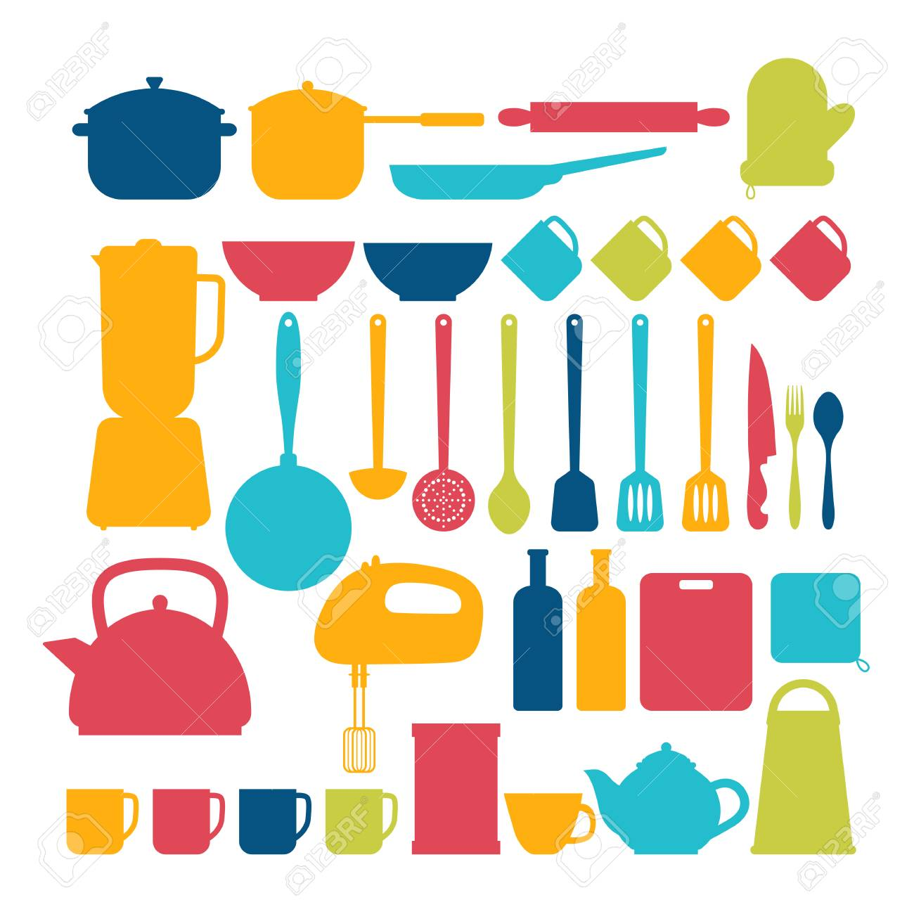 Küchengeräte. Kochen Werkzeuge Und Küchengeräte Silhouetten ...