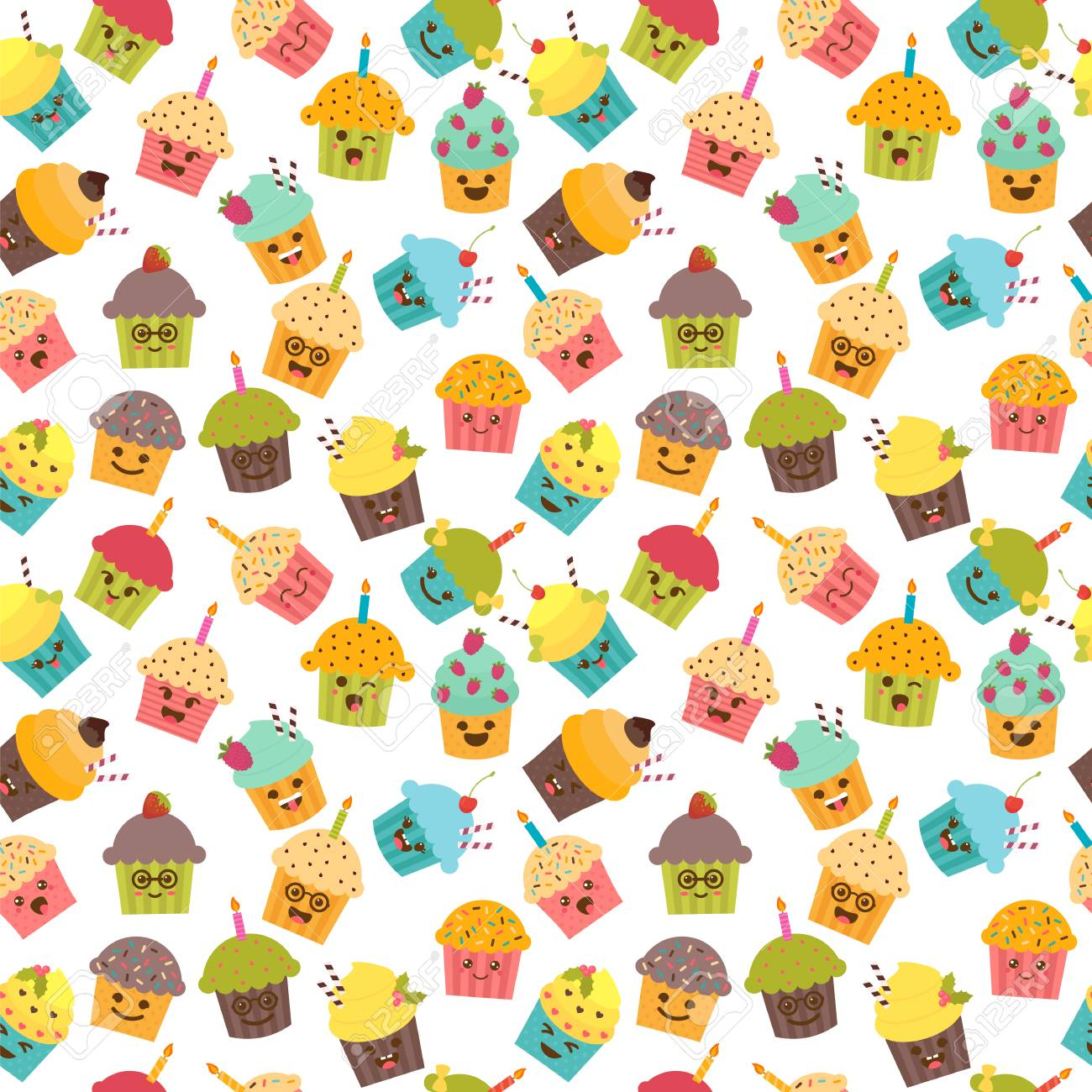 Birthday Background Seamless Pattern With Cupcakes And Muffins Kawaii Cute Cartoon Characters