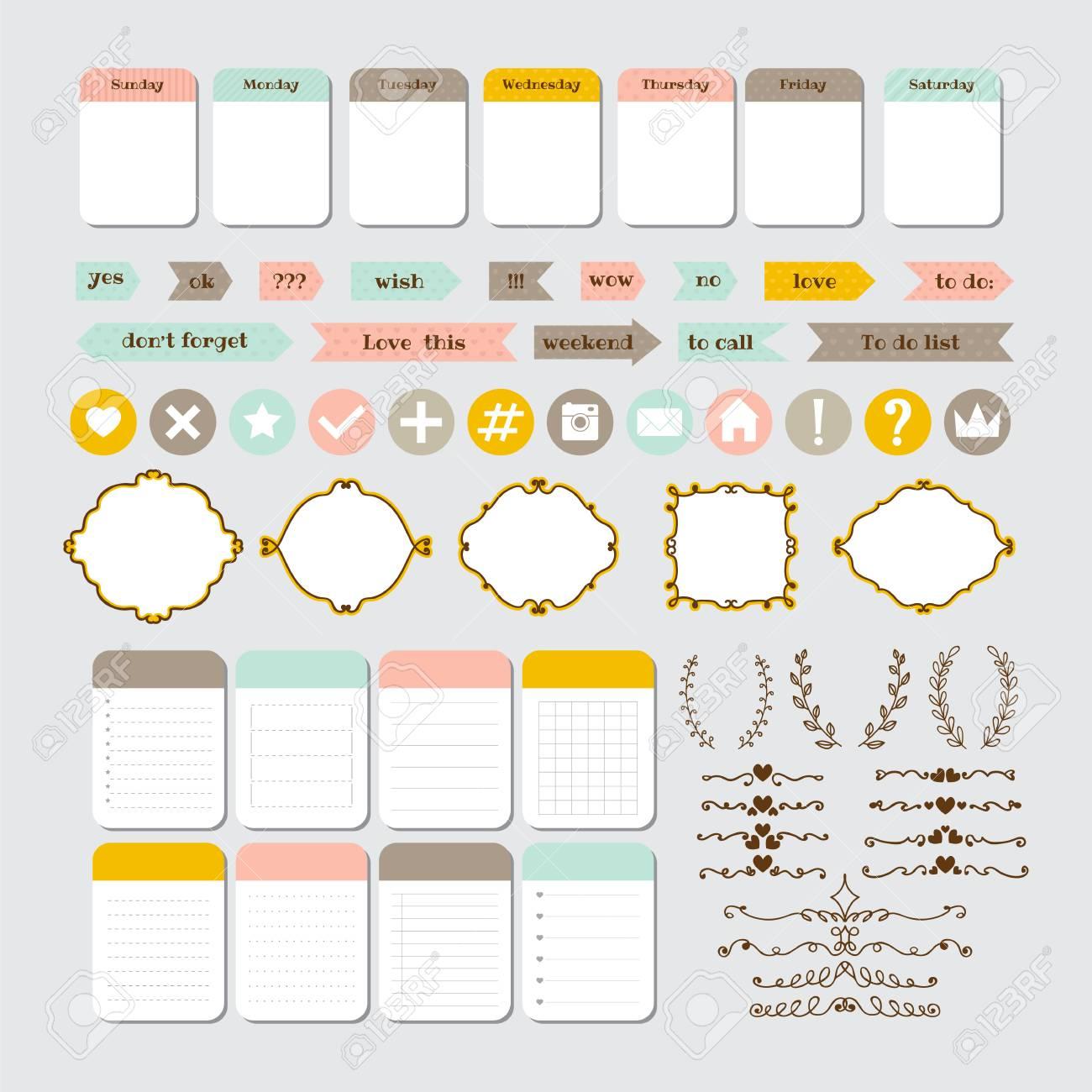 Elementos De Diseño Para El Sitio Web. Plantilla Para Cuadernos ...