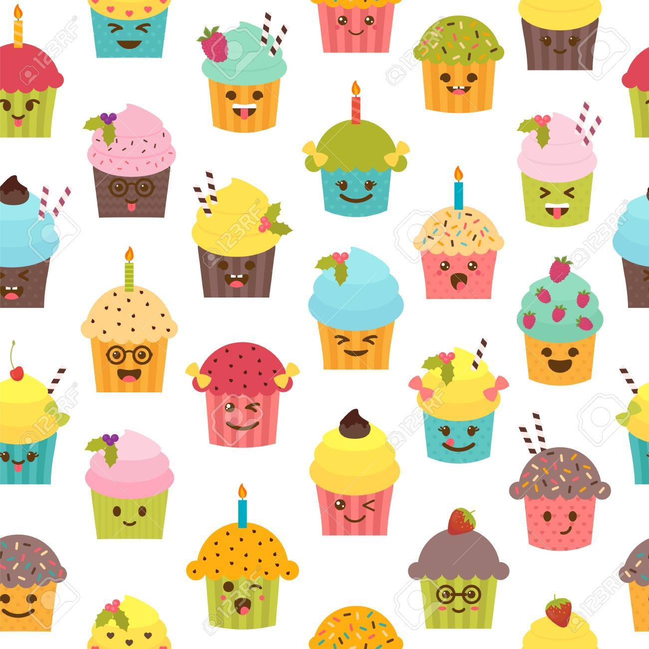 Seamless Pattern With Cupcakes And Muffins Birthday Background Kawaii Cute Cartoon Characters