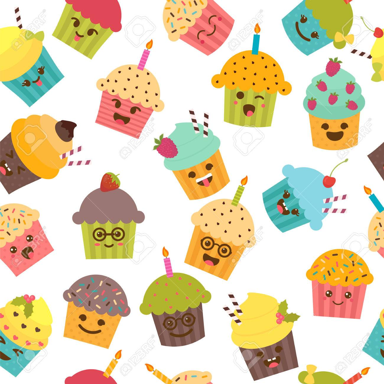 Seamless Pattern With Cupcakes And Muffins Cute Cartoon Characters Emoji Birthday Background