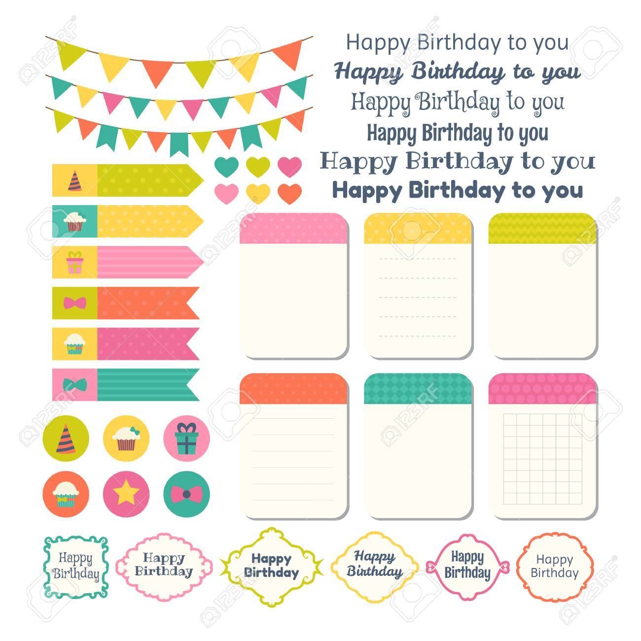Set Of Birthday Party Design Elements. Template For Notebooks. Monthly  Planner. Notes,  Birthday Planner Template