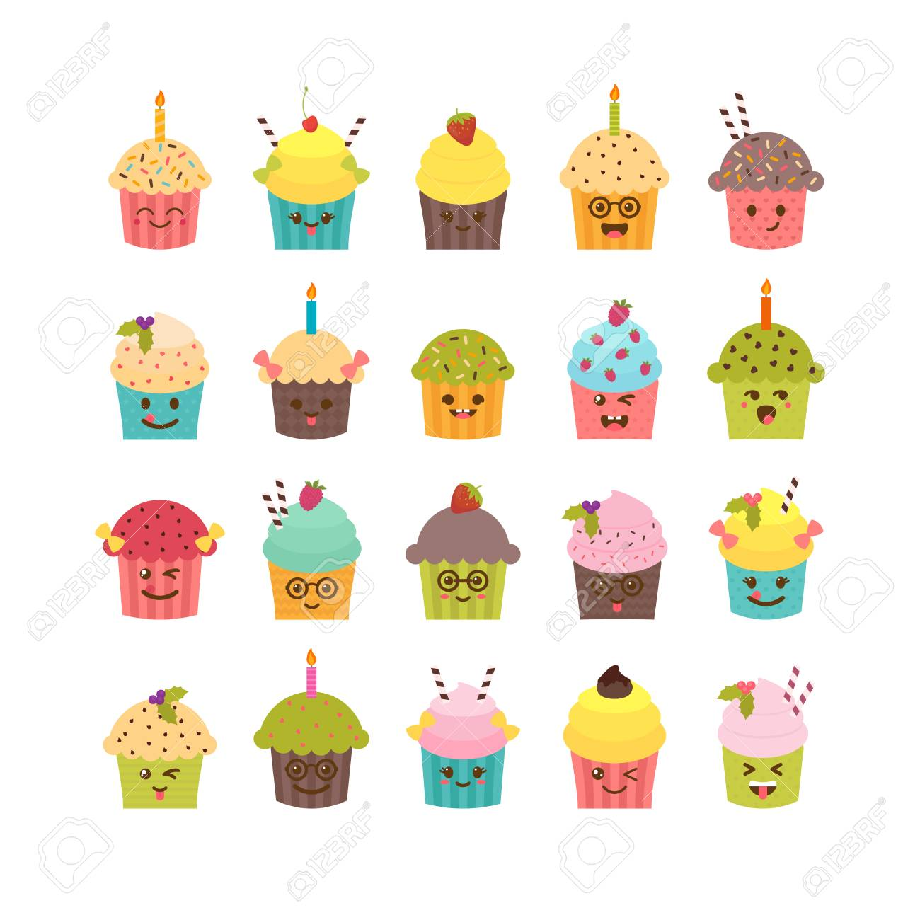 Set Of Cupcakes And Muffins Kawaii Cute Cartoon Characters Emoji