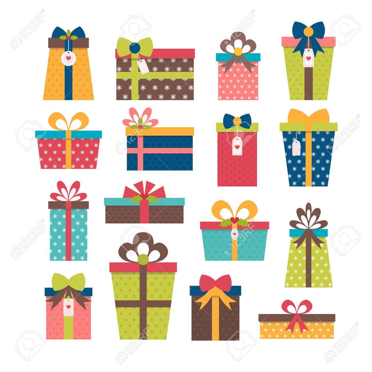 Set Verschiedene Geschenk-Boxen. Bunte Gewickelte Geschenk-Boxen ...