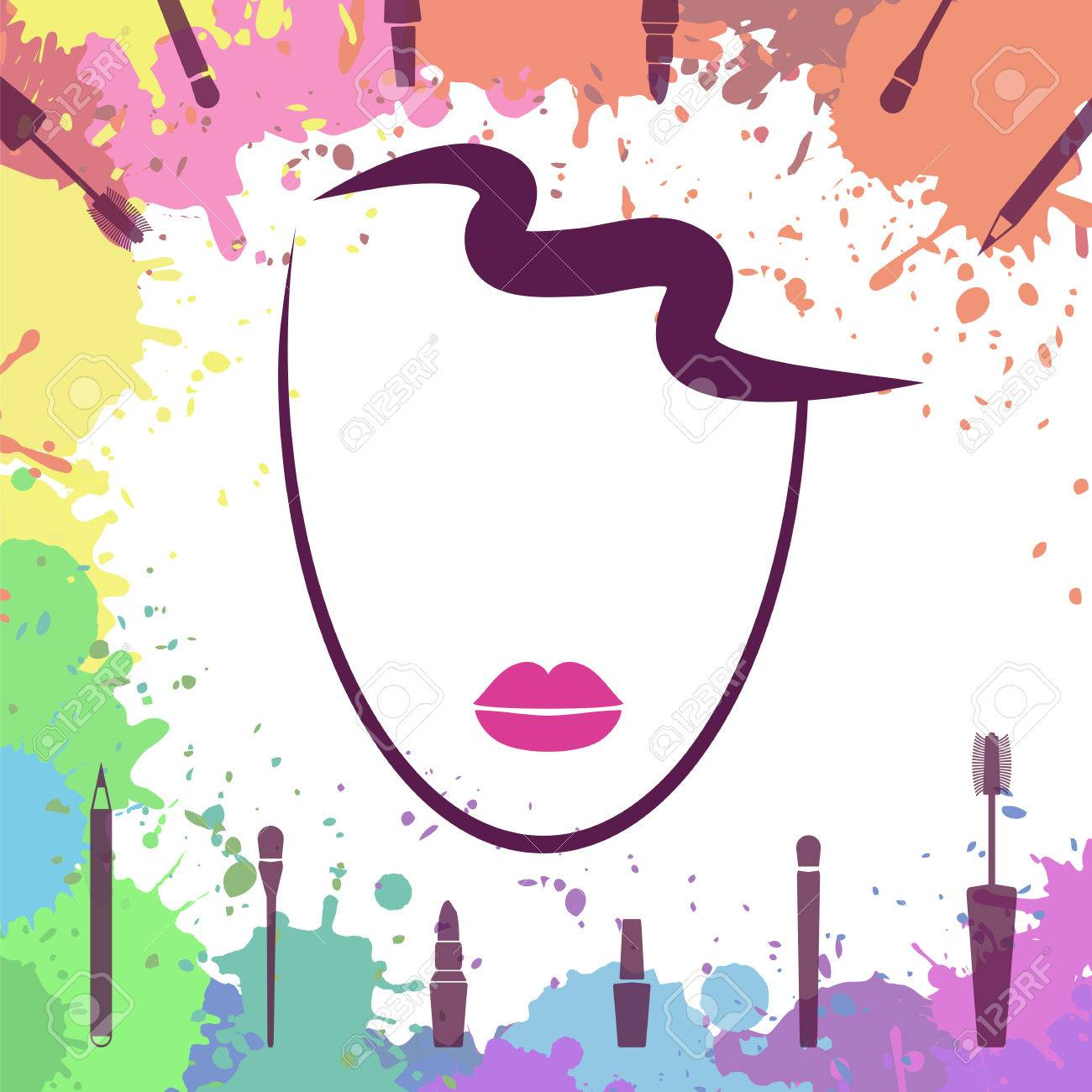 Vector Illustration Face Of Beautiful Girl Fashion Icon Makeup Artist Logo Template Make Up
