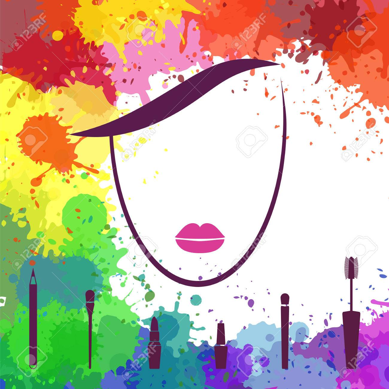 Vector Illustration Face Of Beautiful Girl Fashion Icon Makeup Artist Logo Template Woman