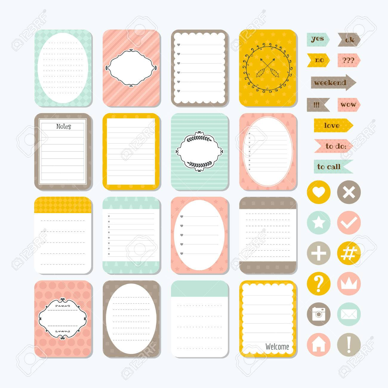 template for notebooks. cute design elements. notes, labels