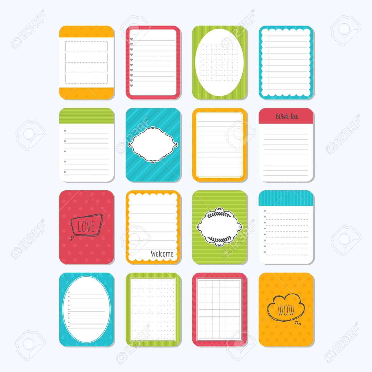 collection of various note papers. template for notebooks. cute