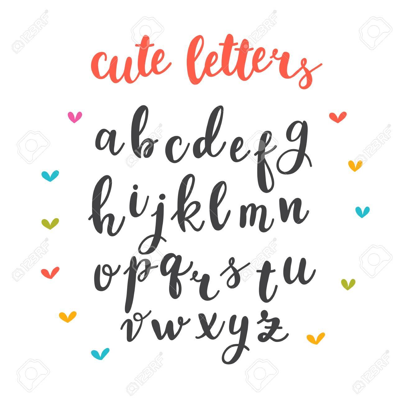 かわいい文字。手描きのカリグラフィ フォントです。文字の