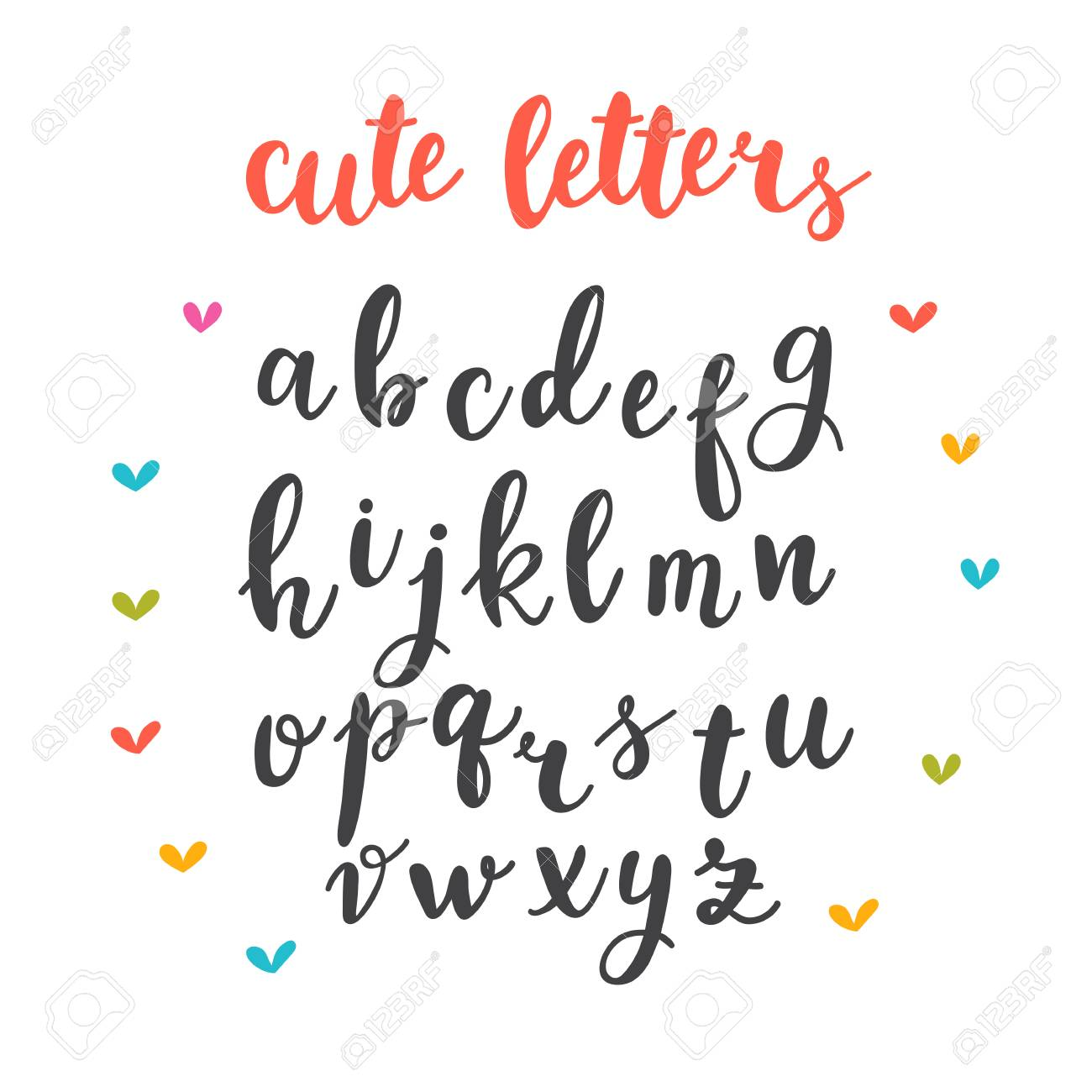 Cute Letters Hand Drawn Calligraphic Font Lettering Alphabet Vector Illustration Stock