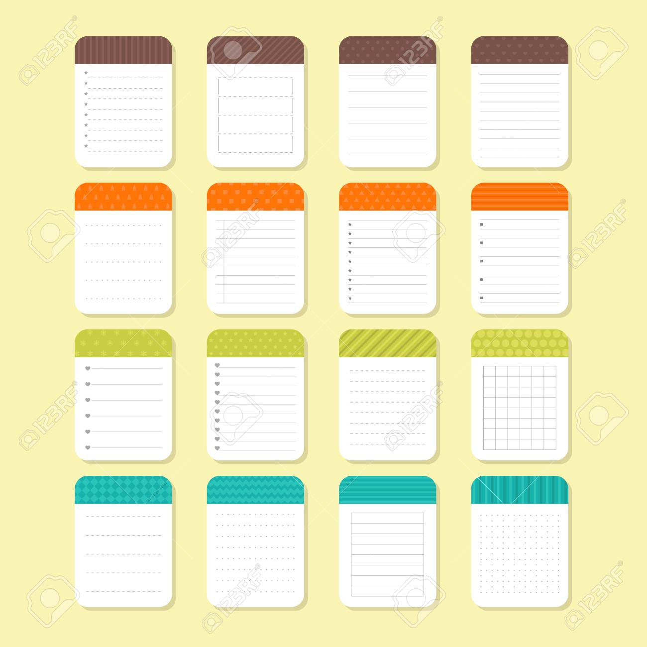 Template Notepad Design Sheets Of Paper Collection Of Various Note