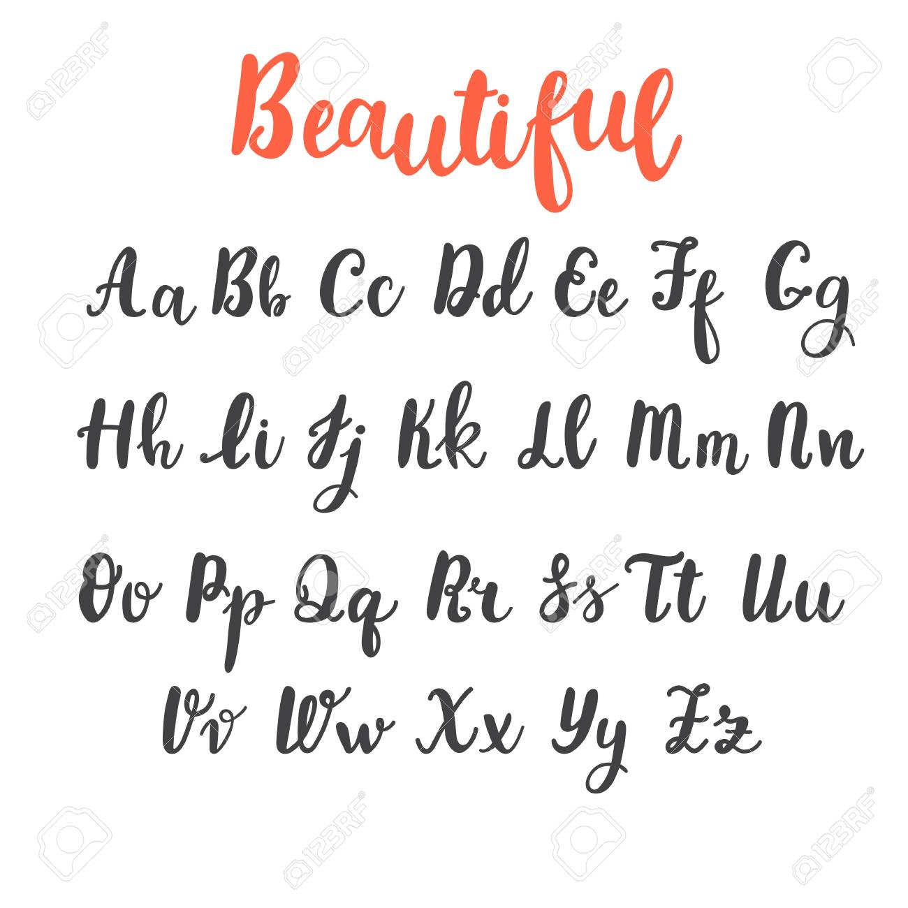 Hand Draw Alphabet Uppercase And Lowercase Letters Calligraphy