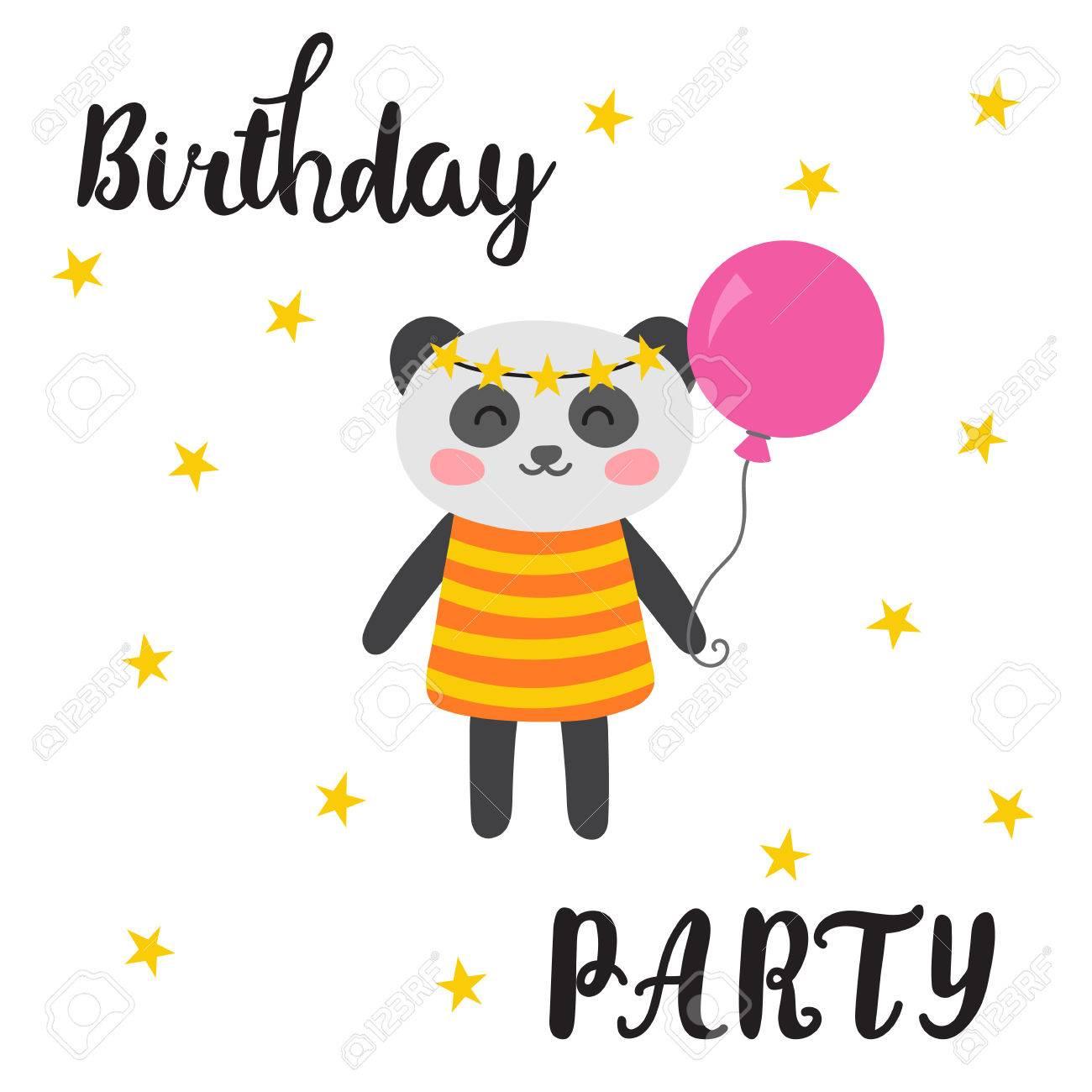 Happy birthday greeting card cute postcard with funny little happy birthday greeting card cute postcard with funny little panda cartoon animals vector m4hsunfo