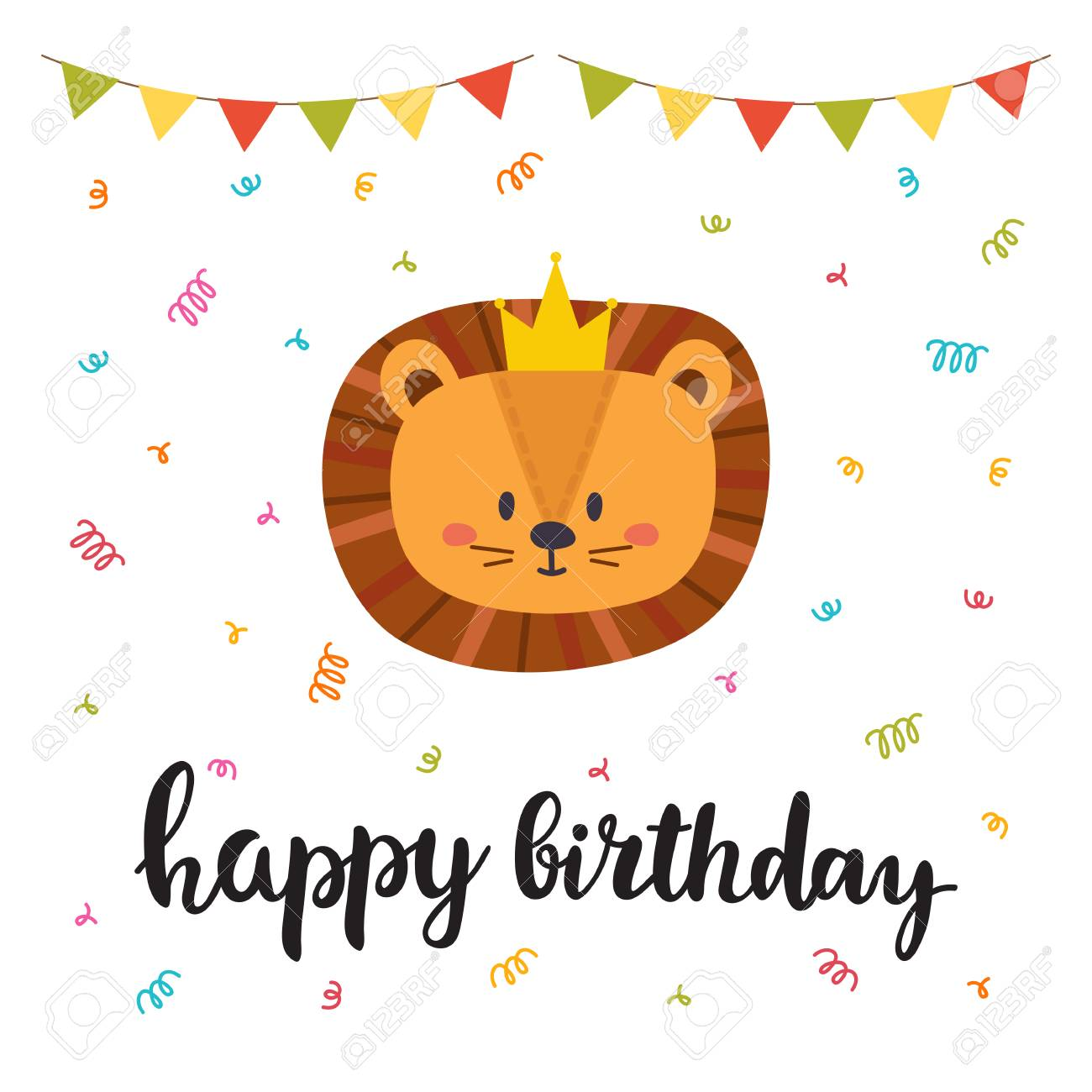Happy Birthday Cute Greeting Card With Funny Little Lion Vector