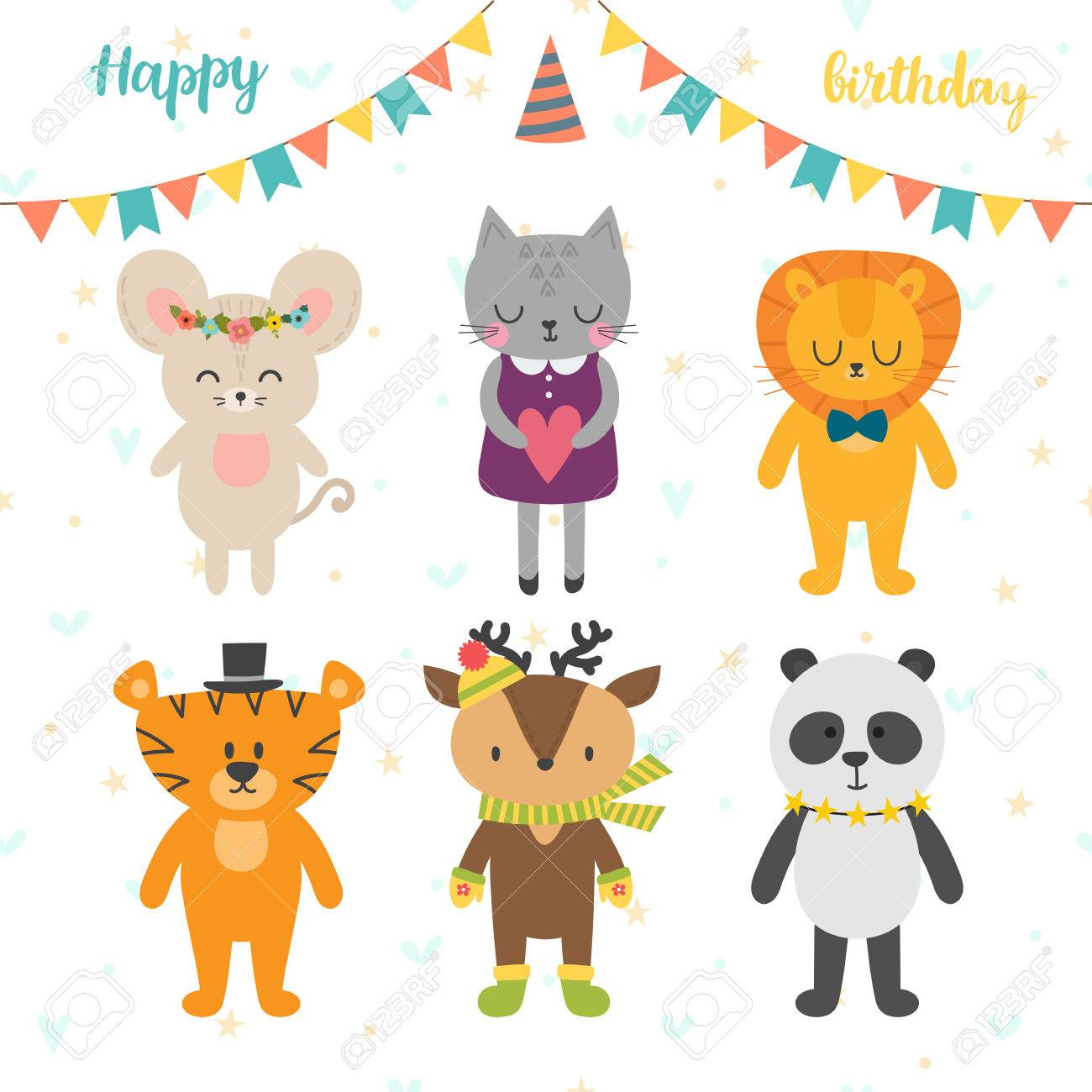 Happy birthday card with cute cartoon animals vector illustration happy birthday card with cute cartoon animals vector illustration 82308529 voltagebd Gallery