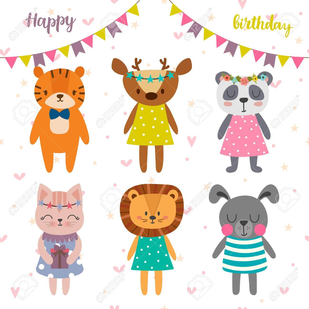 Alles Gute Zum Geburtstag Design Mit Niedlichen Cartoon Tiere