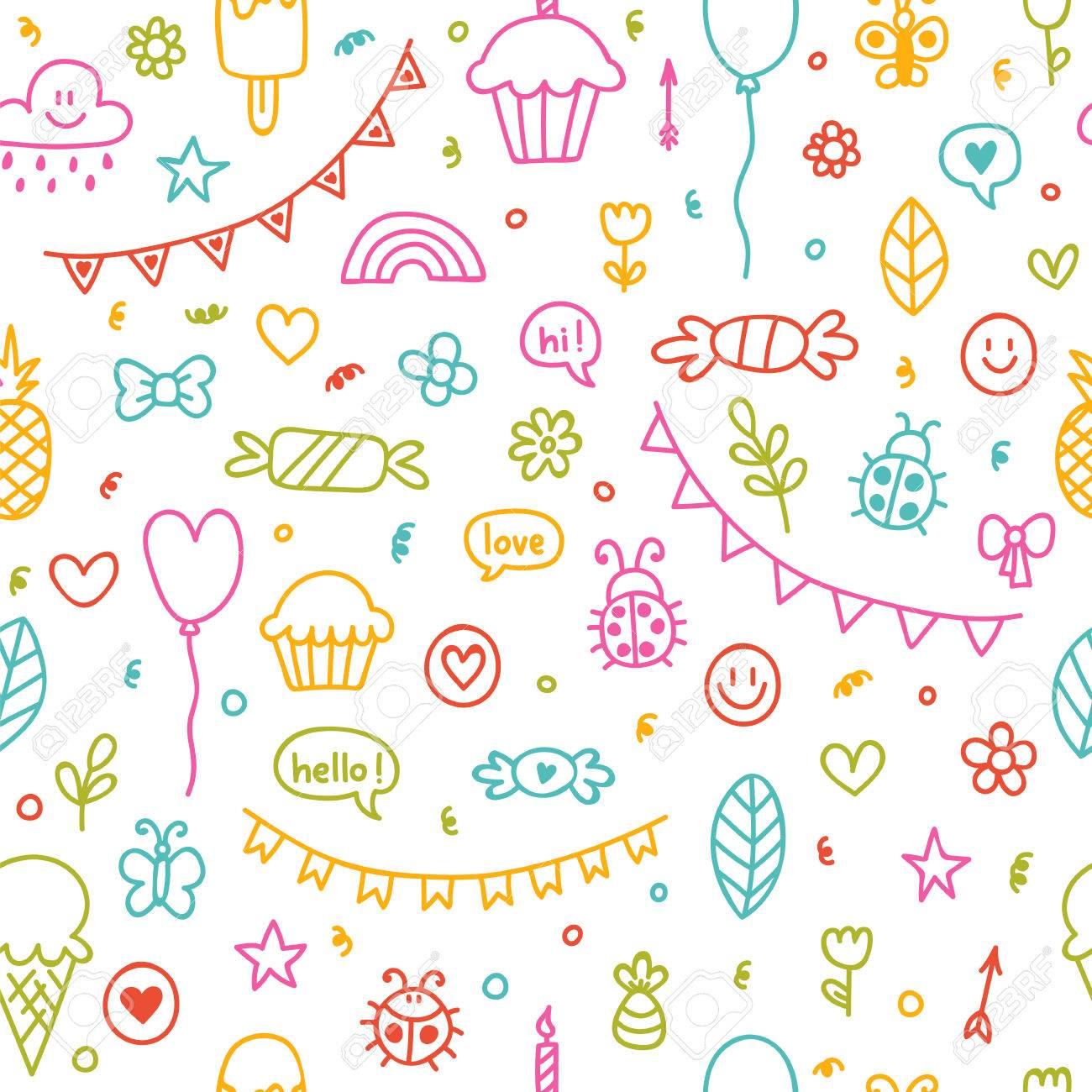 Fondo Para Los Muchachos Y Las Muchachas Lindos. Dibujos Dibujados A ...