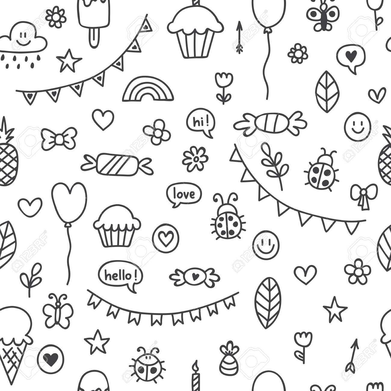 Background for cute little boys and girls hand drawn children drawings color seamless pattern