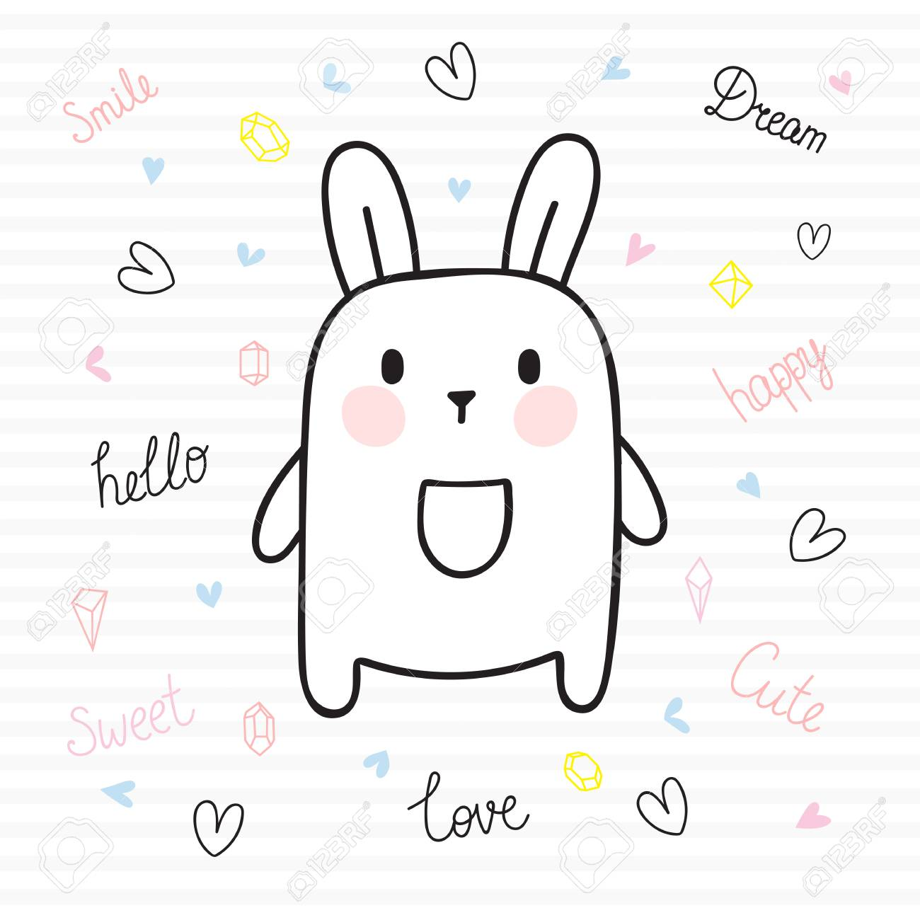 cute hand drawn postcard with funny bunny card for little girl or boy template