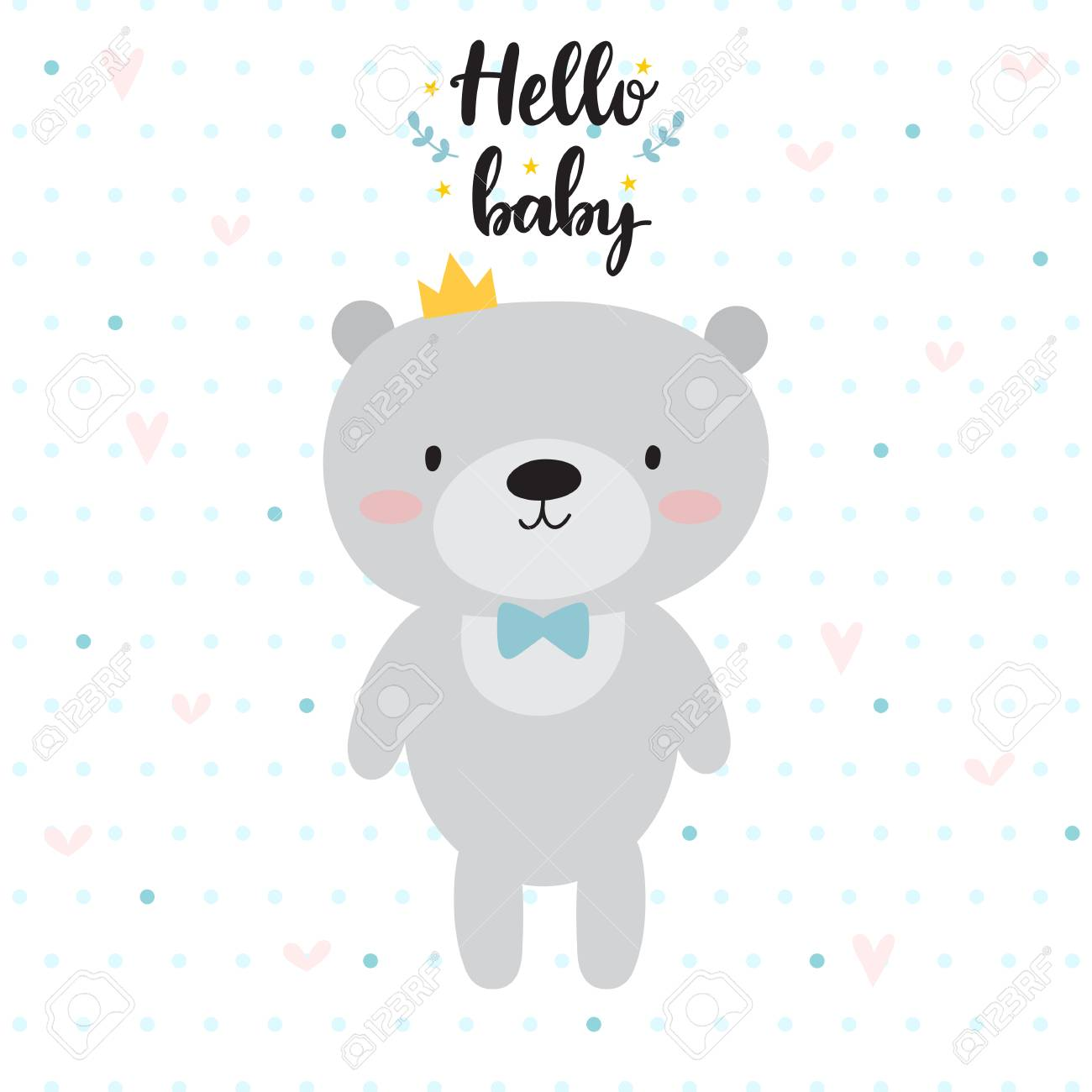 picture relating to Baby Shower Card Printable named Hello there youngster. Adorable card with cartoon undergo and crown. Child shower..