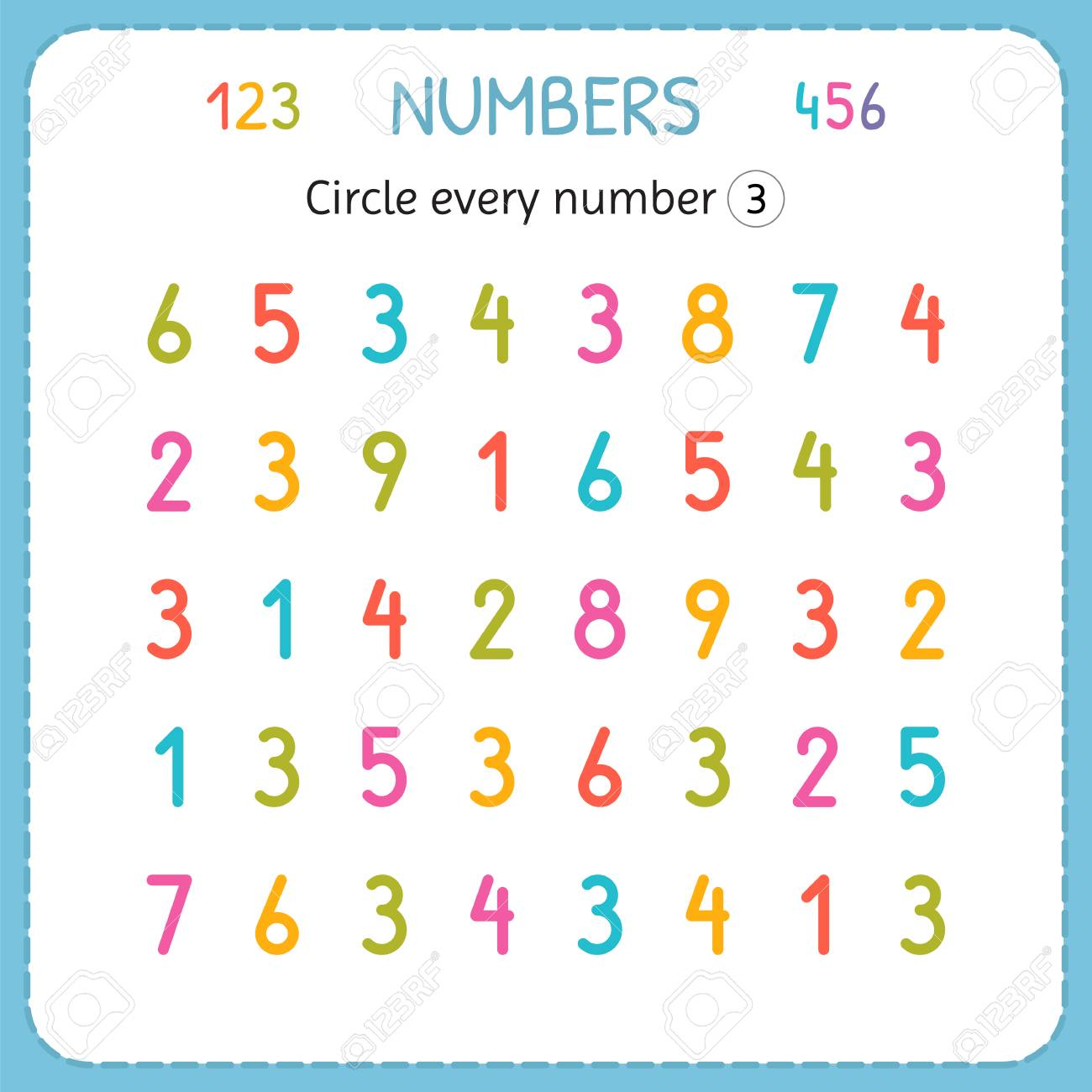 Circle every number Three. Numbers for kids. Worksheet for kindergarten..
