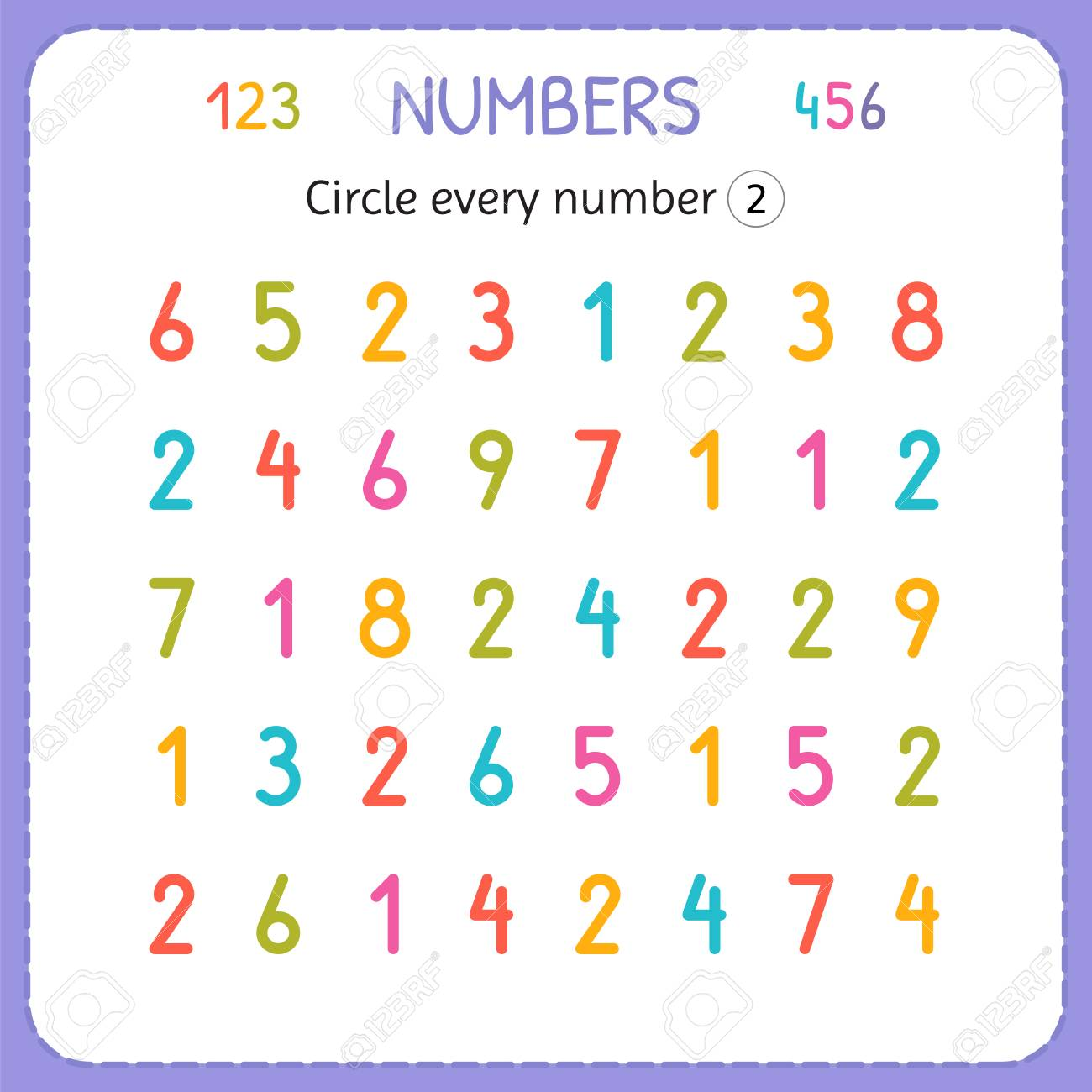 Circle Every Number Two. Numbers For Kids. Worksheet For ...