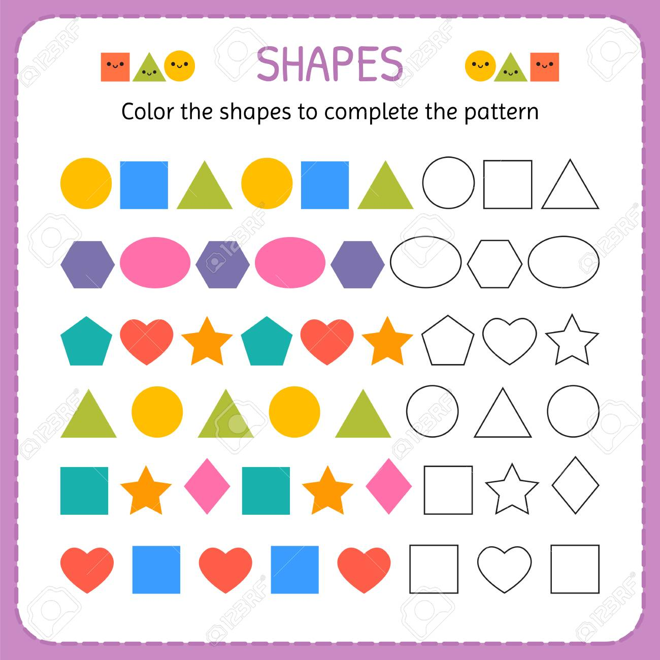 Color The Shapes To Complete The Pattern Learn Shapes And Geometric