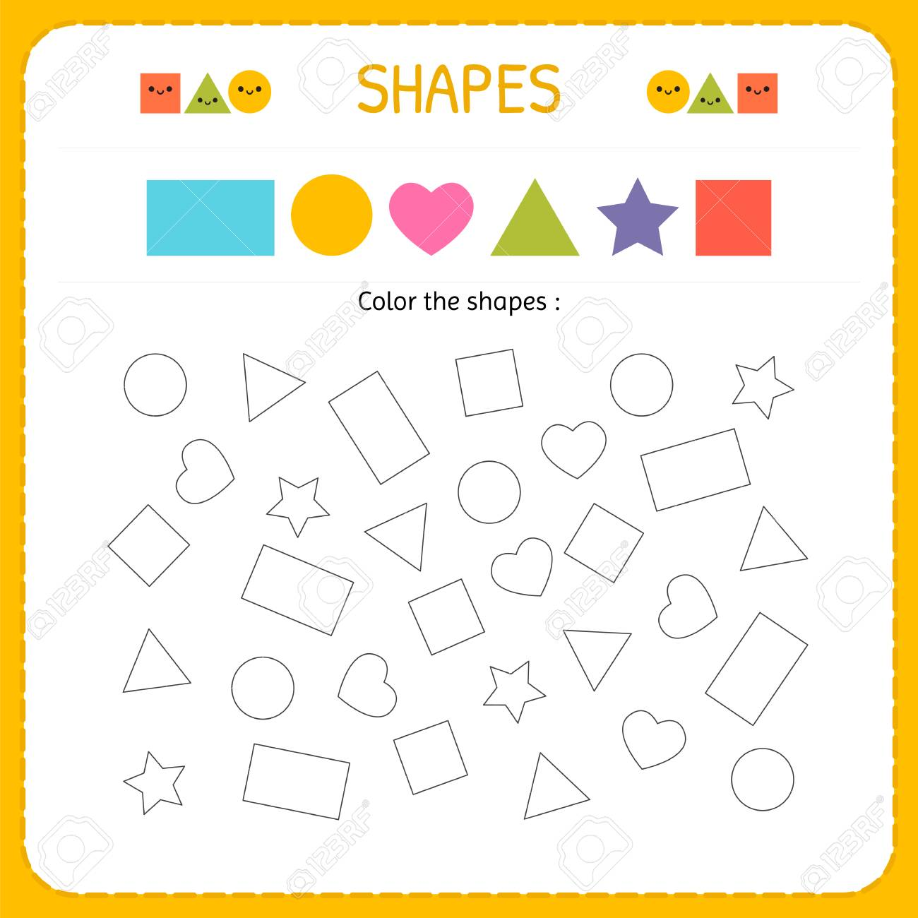 Coloring Multiple Shapes Learn Shapes And Geometric Figures
