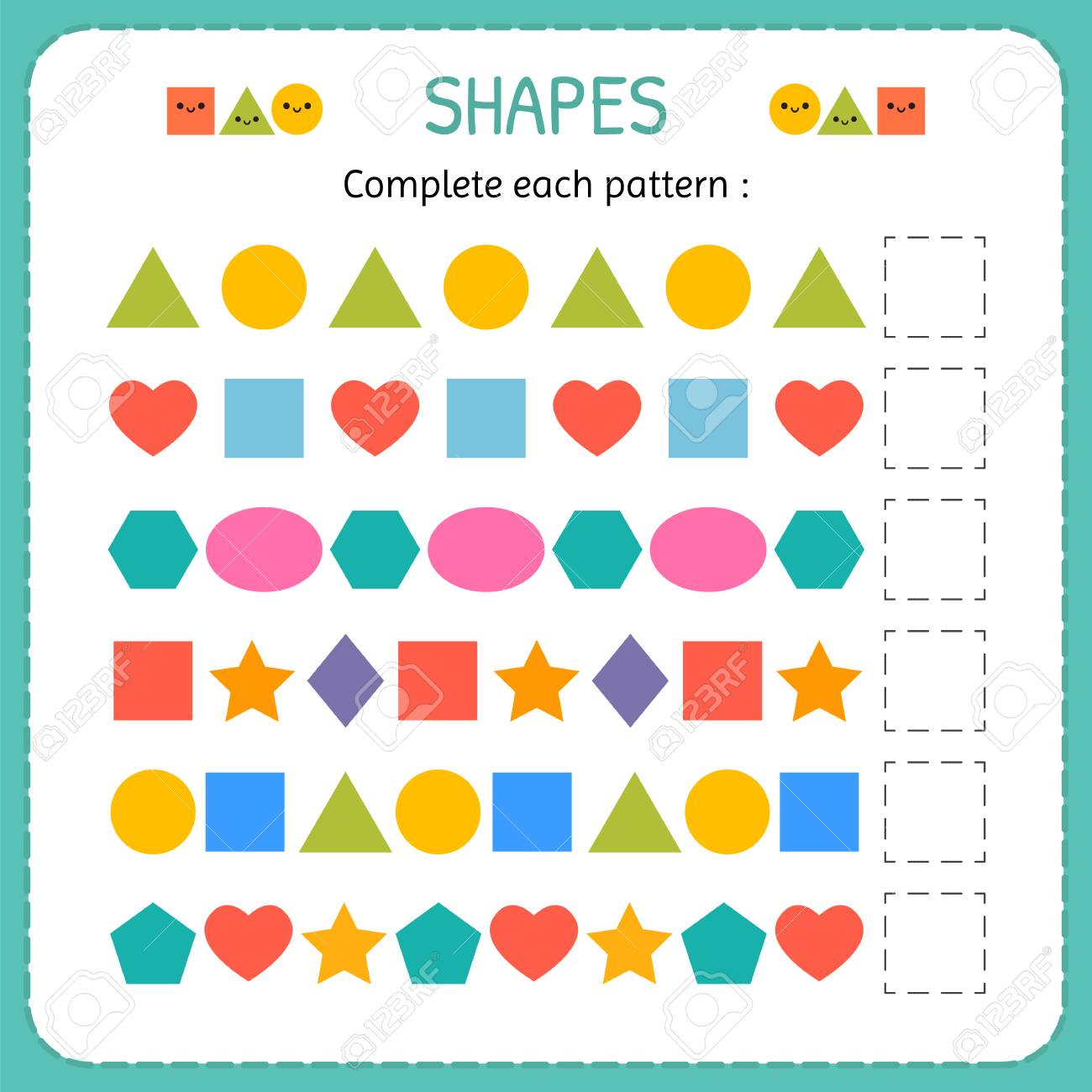 Complete Each Pattern Learn Shapes And Geometric Figures Preschool