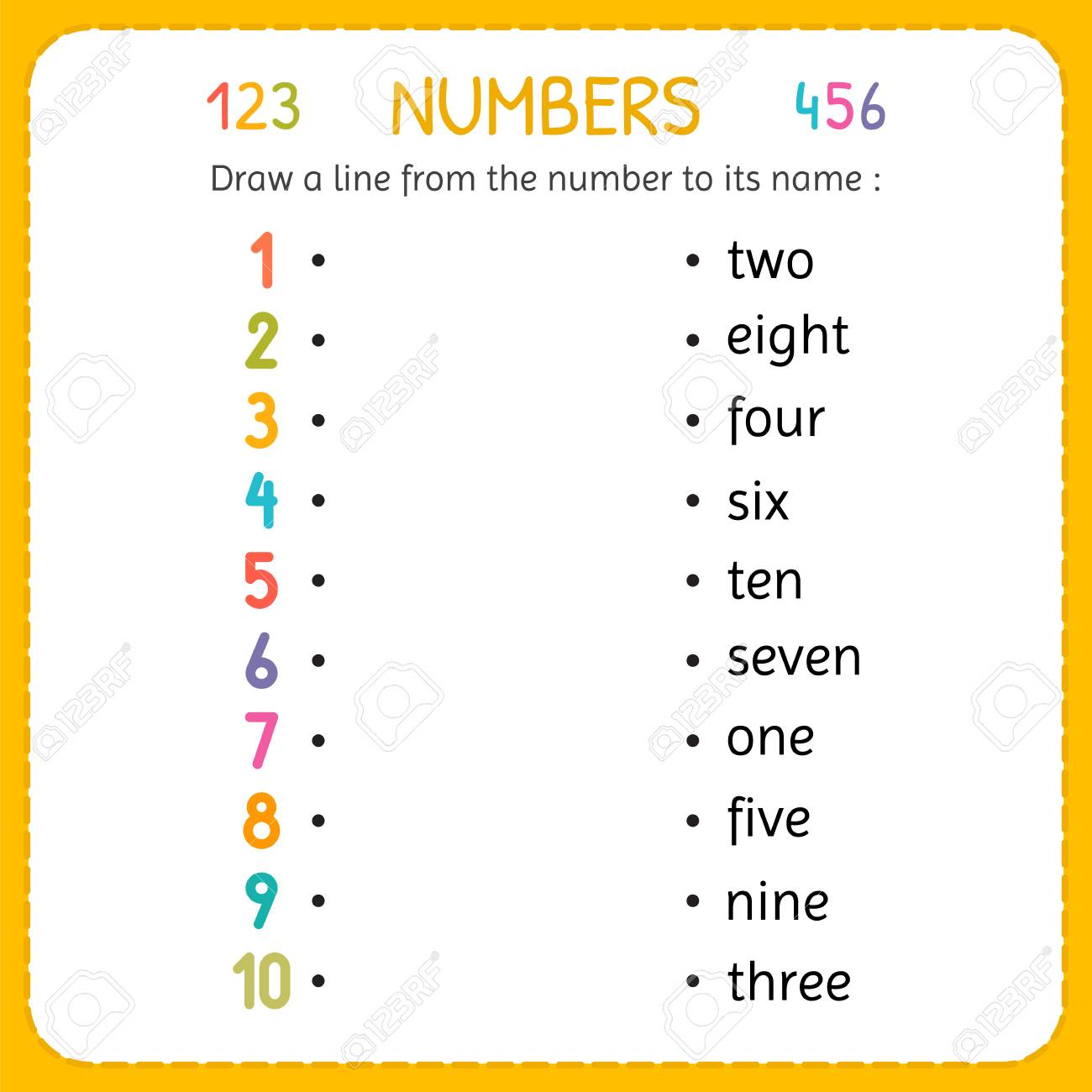 Draw a line from the number to its name. Numbers for kids. Worksheet..