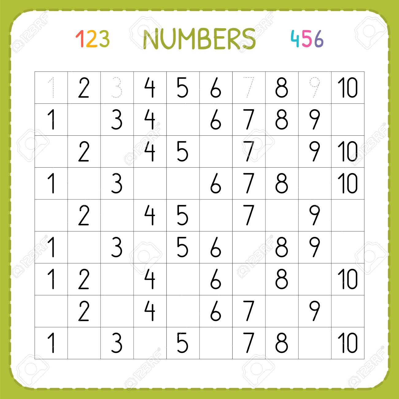 Numbers For Kids. Worksheet For Kindergarten And Preschool. Training ...